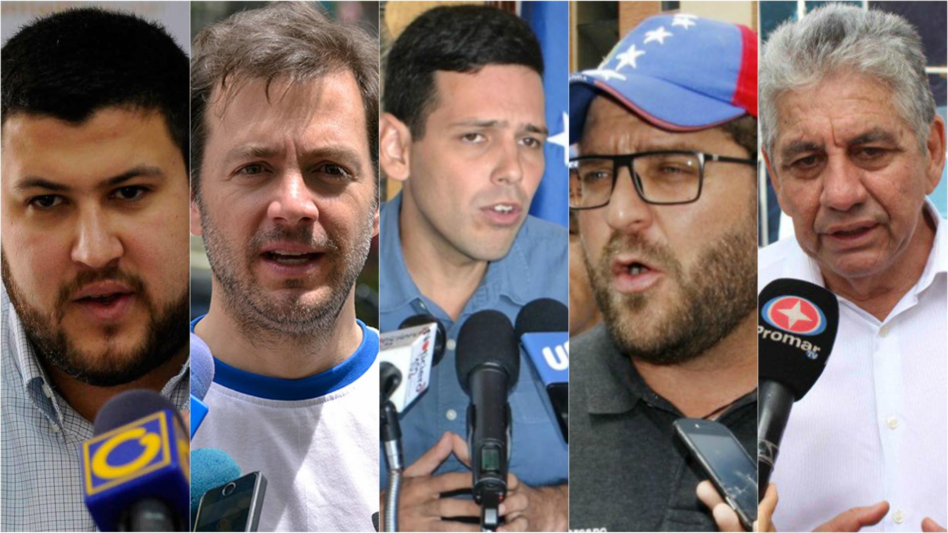 David Smolansky, Ramón Muchacho, Carlos García, Gustavo Marcano y Alfredo Ramos.