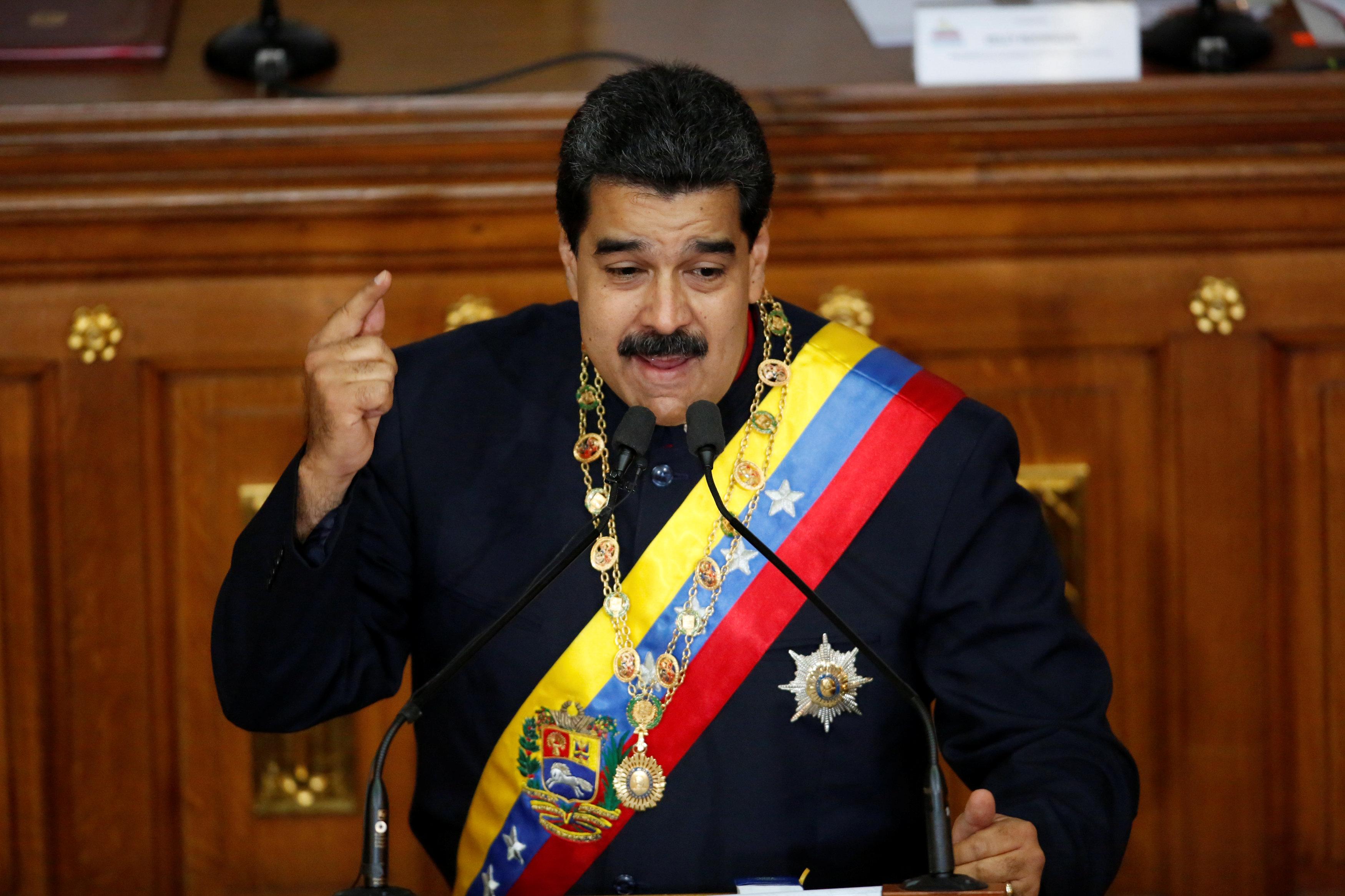 El presidente venezolano Nicolás Maduro en su discurso durante la sesión de la Asamblea Constituyente (Reuters)