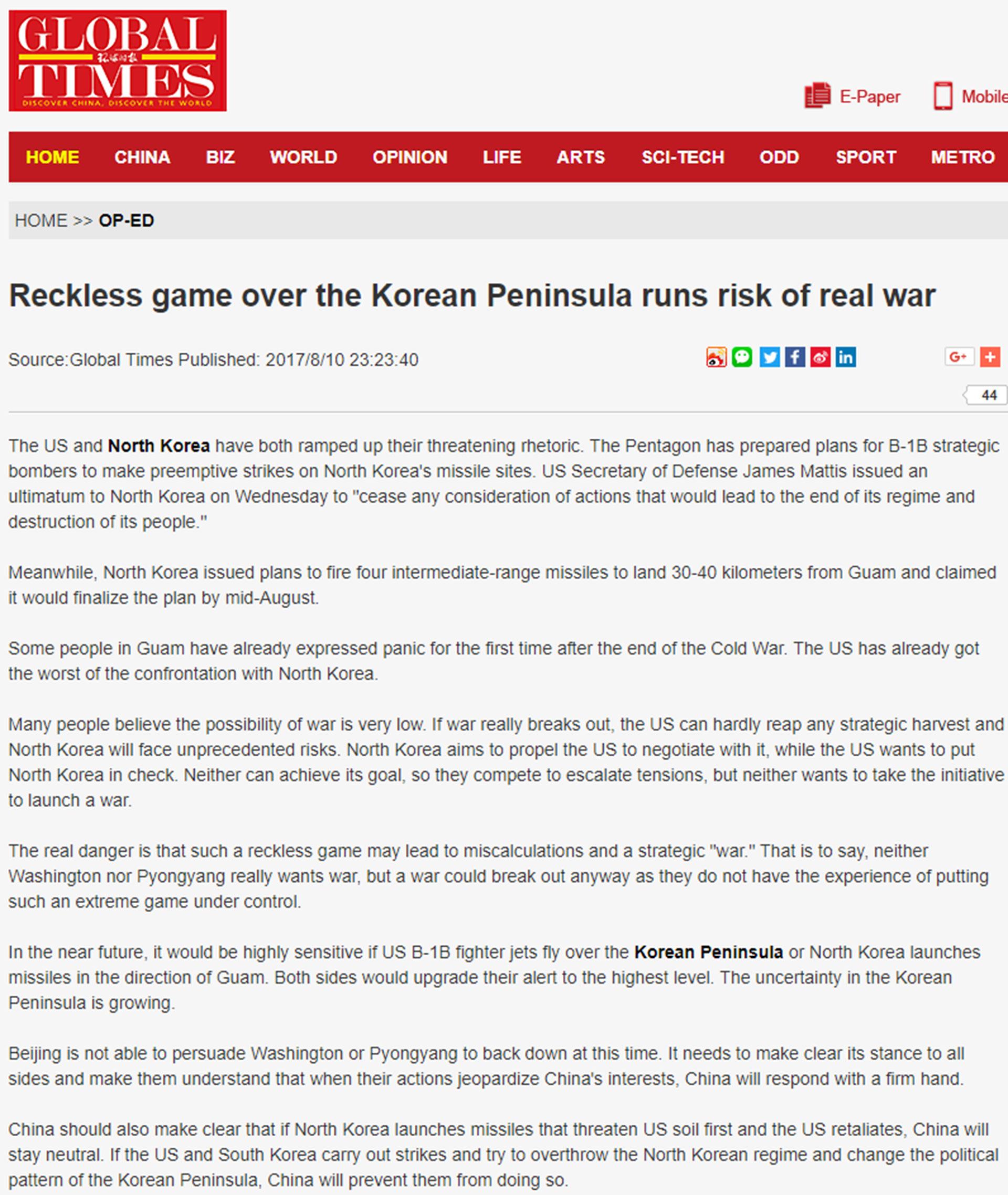 La editorial de Global Times sugiere que Pekín debe evitar la caída de Kim Jong-un, pero no acompañar una agresión militar a Estados Unidos