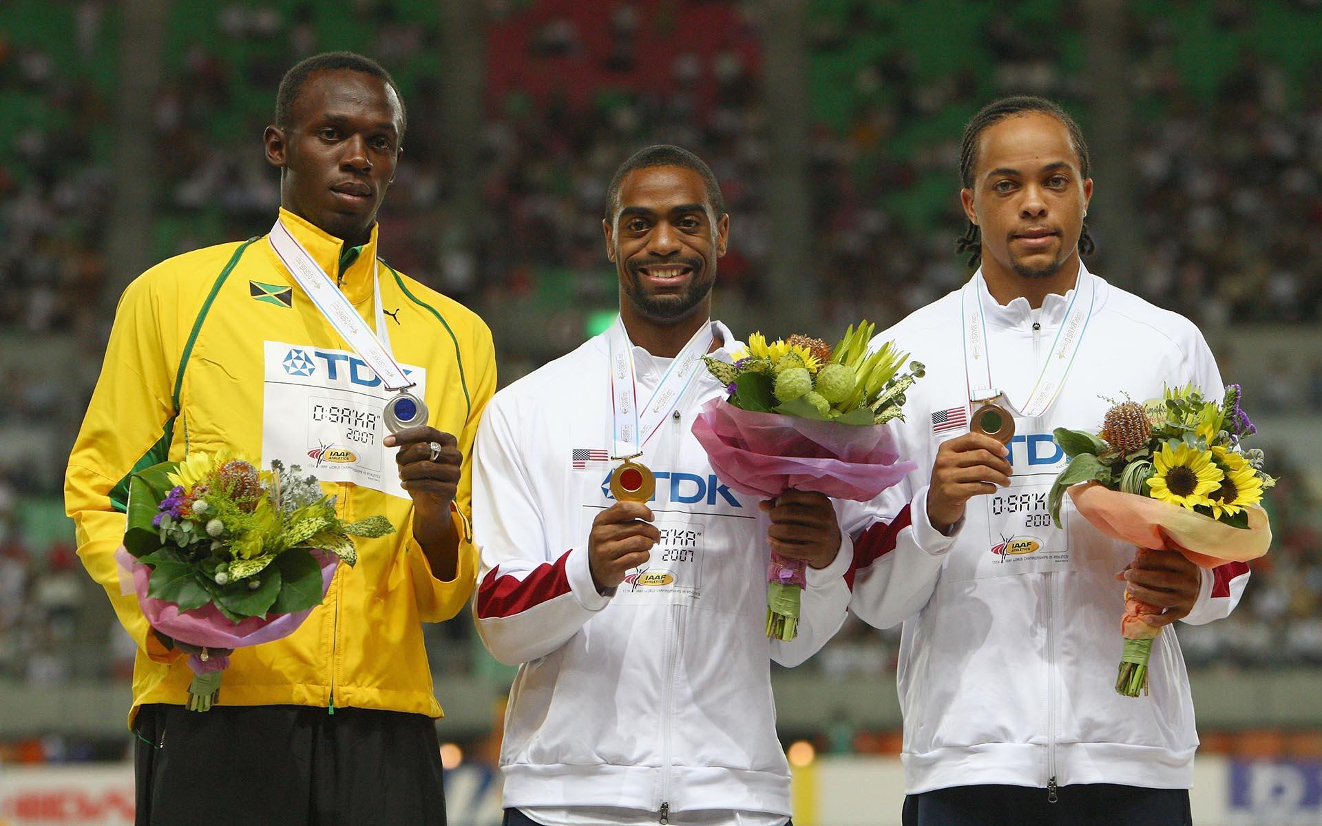 En el Mundial de Osaka 2007, el jamaiquino Usain Bolt terminó segundopor detrás de Tyson Gay en la final de los200 metros (Getty Images)