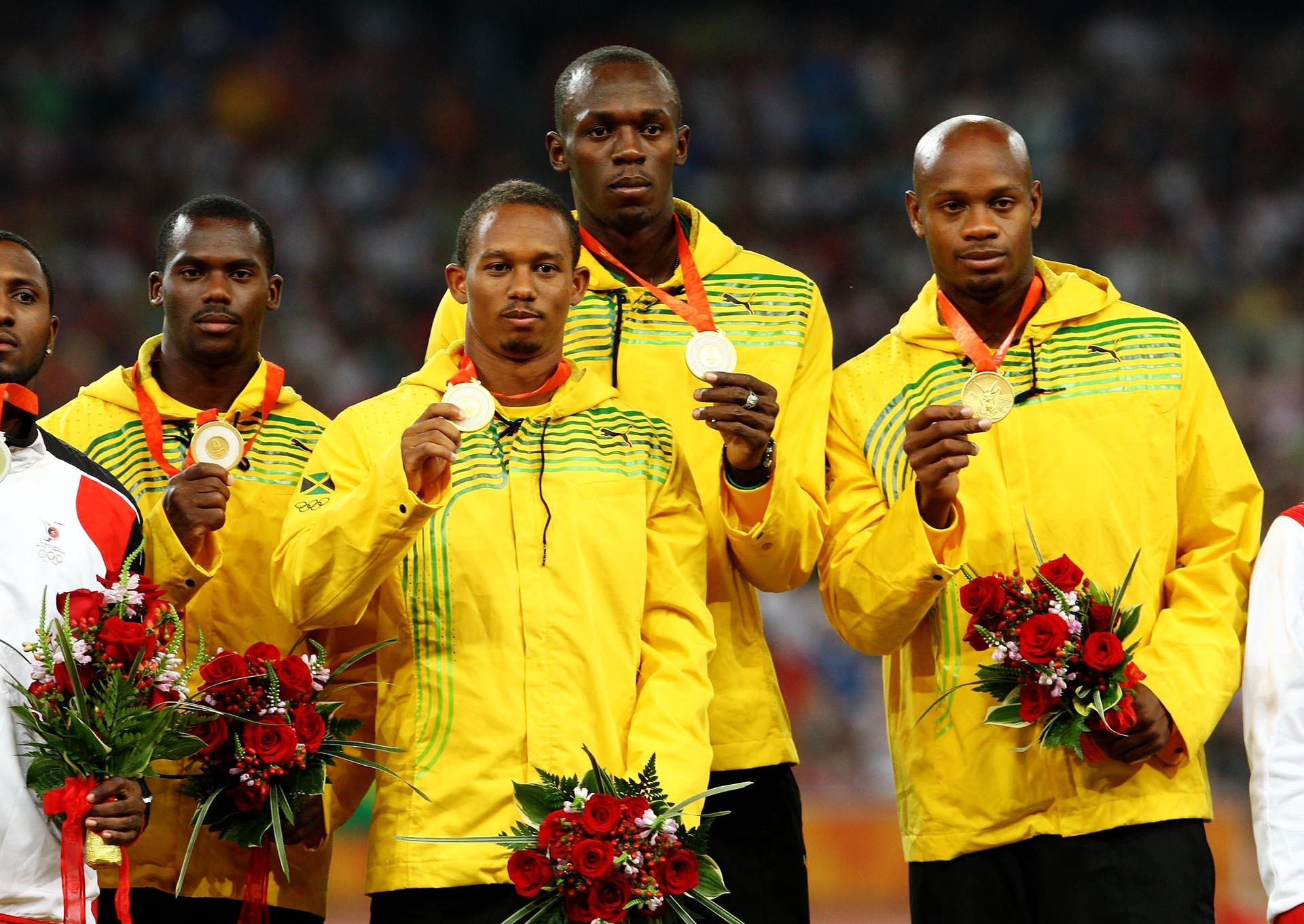 Junto aNesta Carter, Michael Frater y Asafa Powell, Usain Bolt también ganó la medalla de oro en el 4×100 de los Juegos de Beijing (Getty Images)