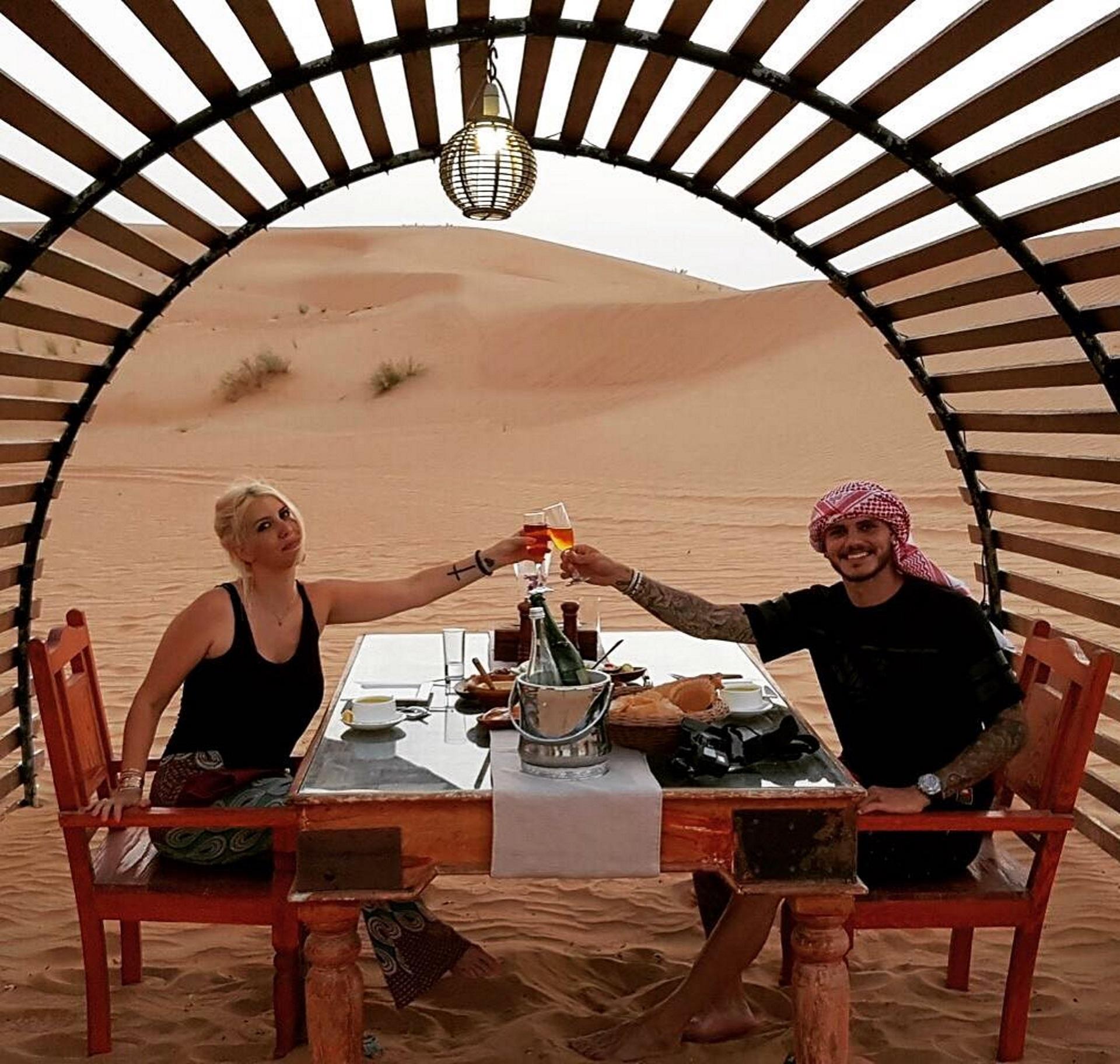 Wanda Nara y Mauro Icardi disfrutaron del desierto de Dubai