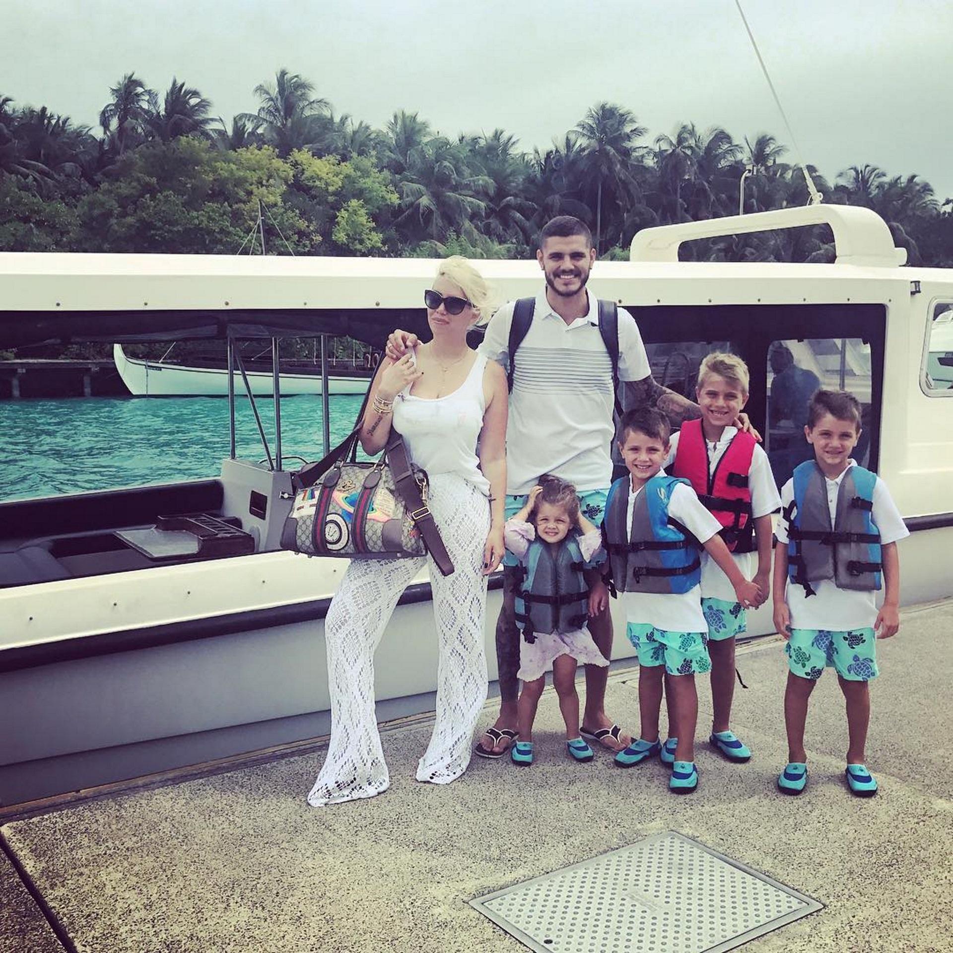 El descanso de la familia Icardi-Nara continuó en la Islas Maldivas