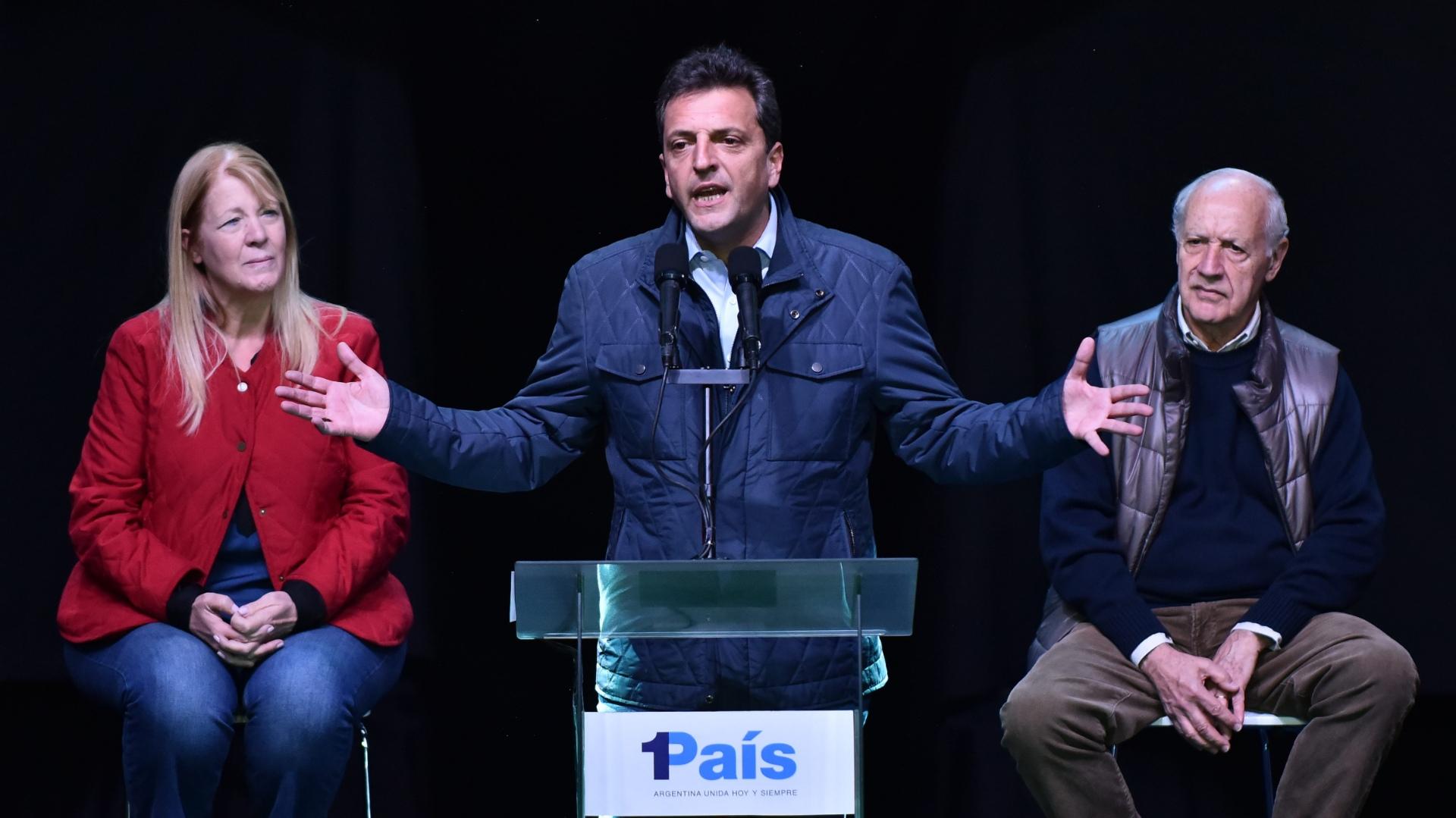 Massa, Margarita Stolbizer y Roberto Lavagna se dirigieron a sus seguidores cuando se confirmó que 1País quedó tercero en la Provincia