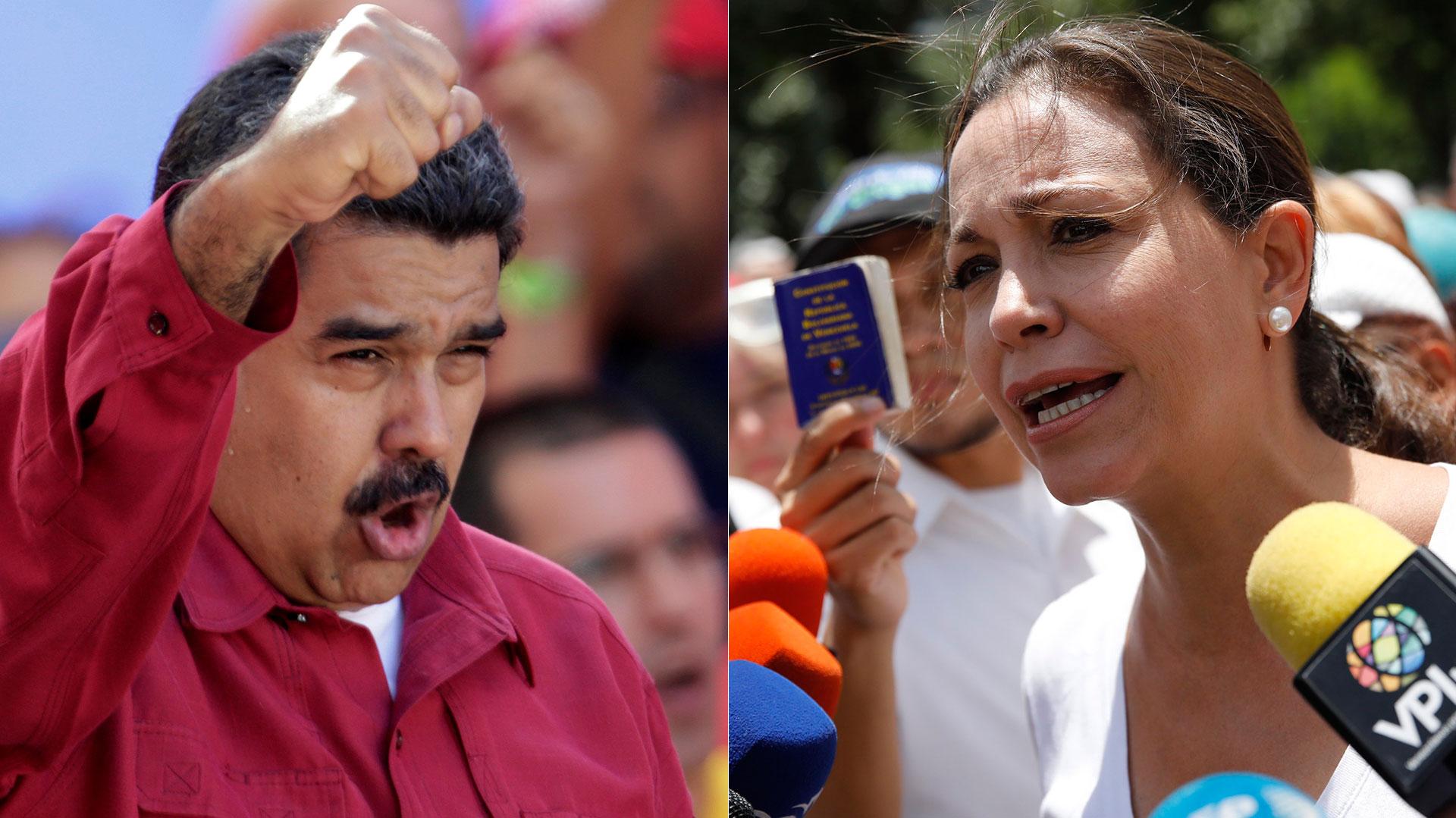 Nicolás Maduro y María Corina Machado