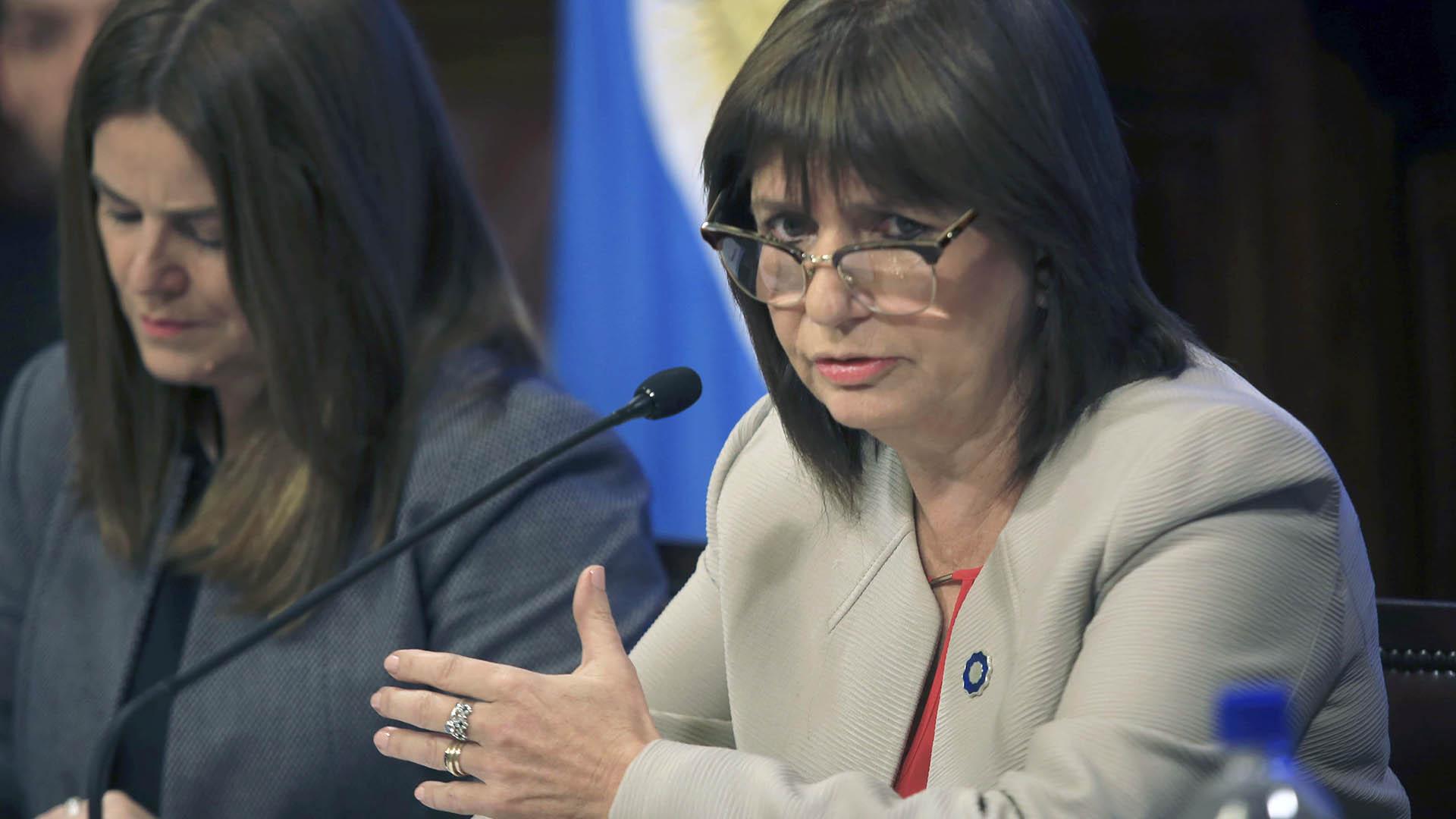 La ministra de Seguridad de la Nación, Patricia Bullrich