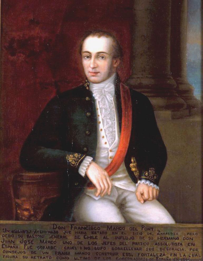 Francisco Casimiro Marcó del Pont, ex gobernador de Chile, prisionero de los patriotas, estaba confinado en San Luis