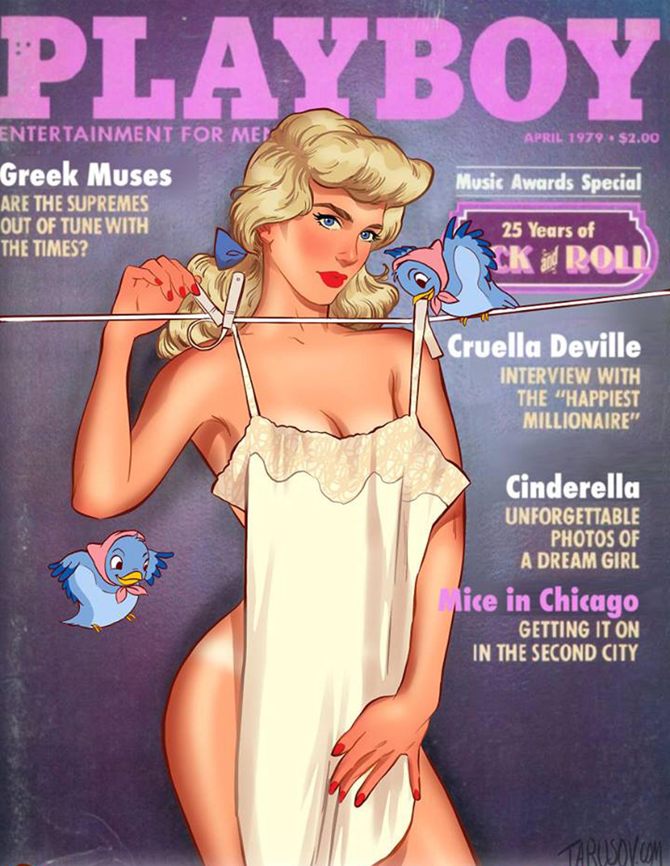 Cenicienta en la tapa imaginaria de Playboy se vería totalmente desnuda cubierta por un sexy camisón de seda sostenida por sus fieles amiguitos de la película
