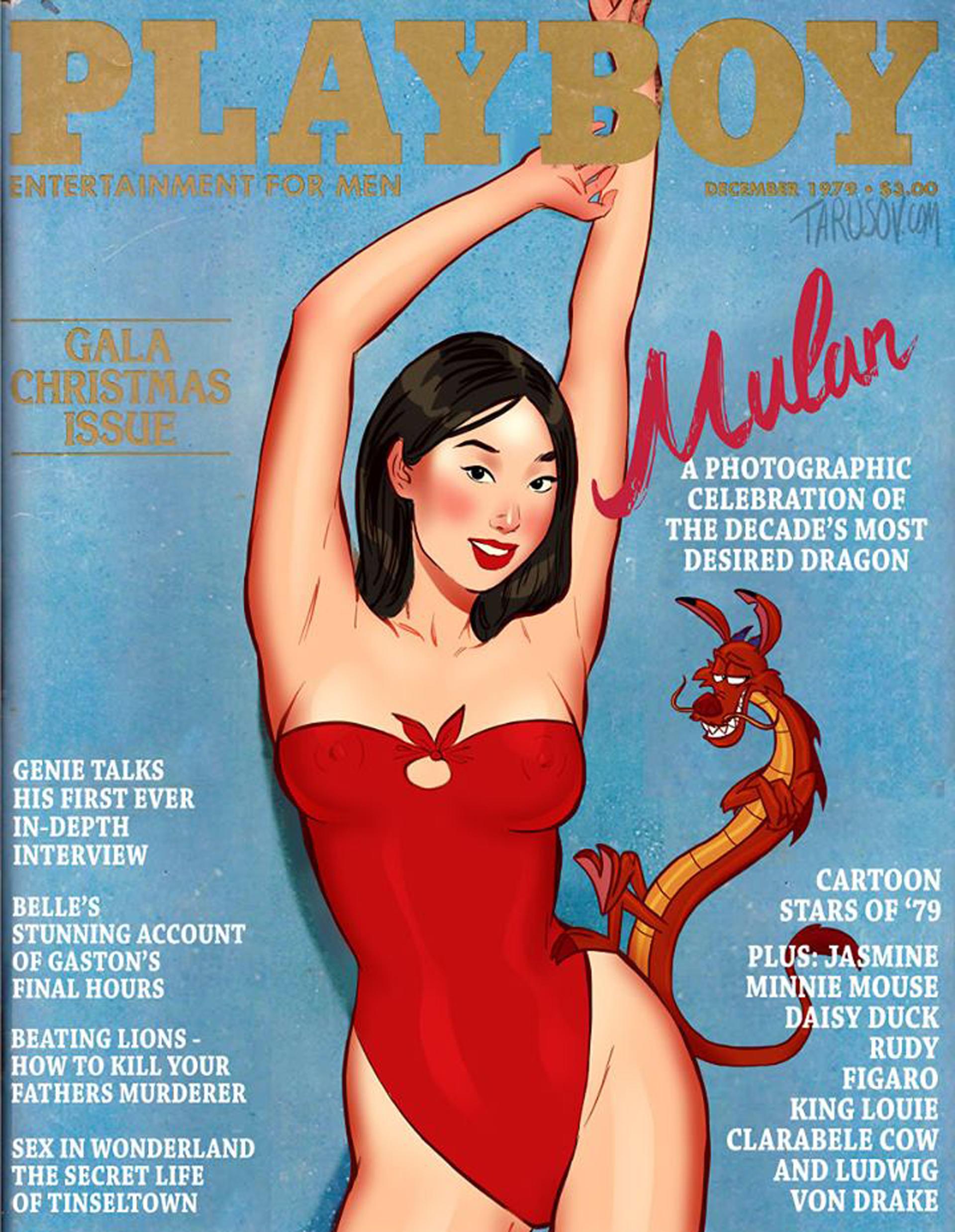 Mulán, la heroínachina,con un body rojo cavado dejando ver sus curvas