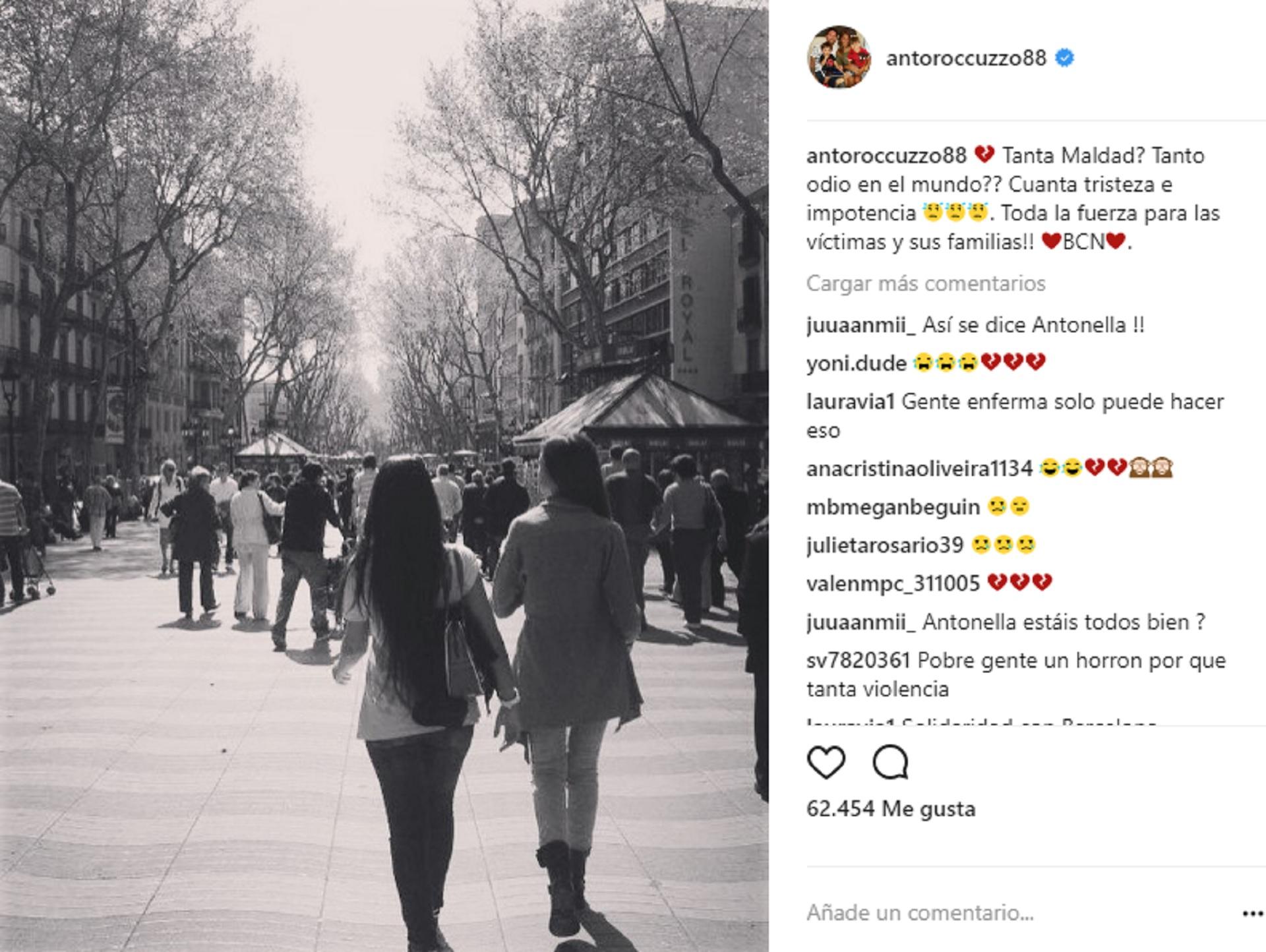 El mensaje de Antonela Roccuzzo en Instagram tras el atentado en Barcelona