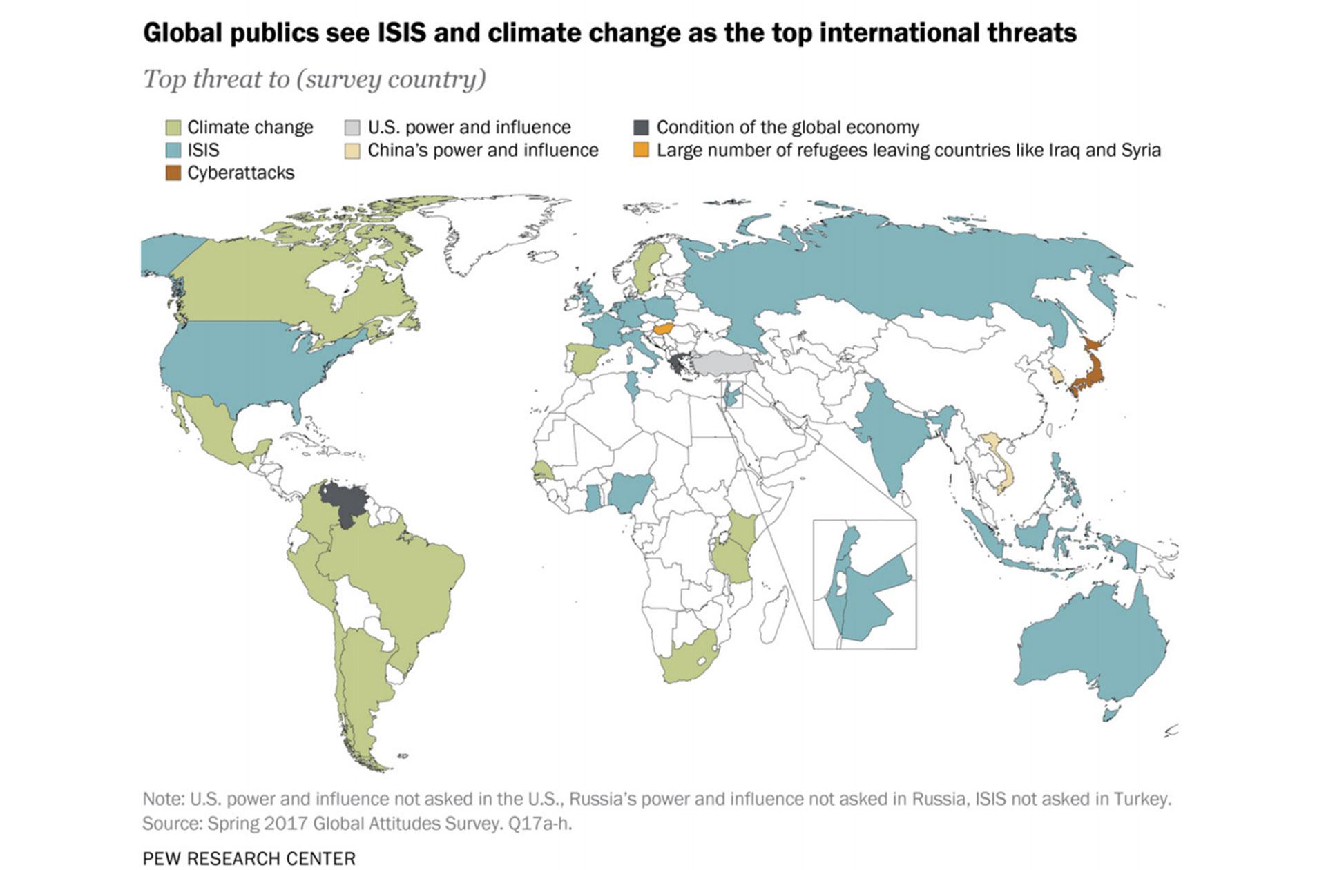 El mapa que muestra cuáles son las principales amenazas para los habitantes de cada país