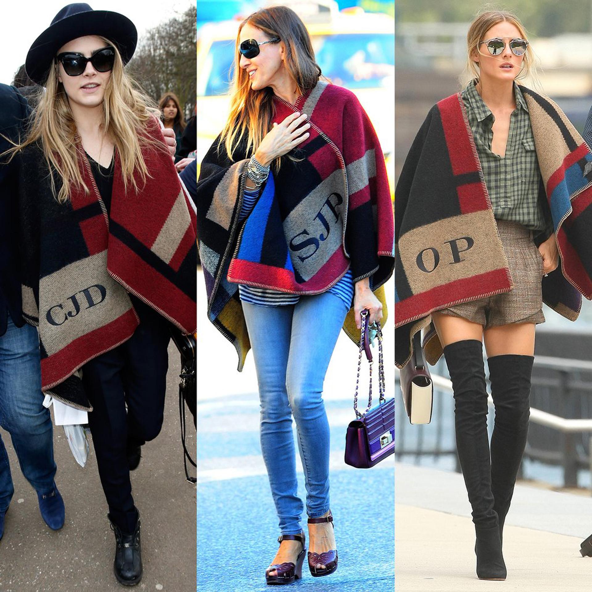 Cara Delevigne, Sarah Jessica Parker y Olivia Palermo, todas con su poncho personalizado por la firma Burberry