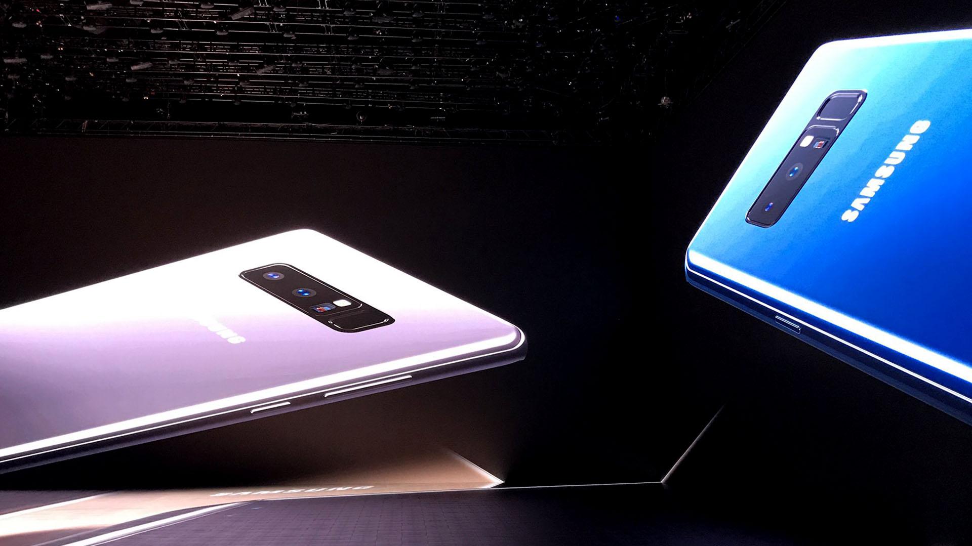 Vista de perfil del Galaxy Note 8