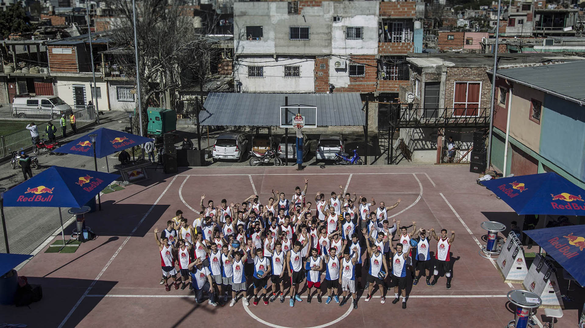 Competitors pose for a portrait during Red Bull Reign National Final at Barrio 31 in Buenos Aires, Argentina on August 21, 2017.