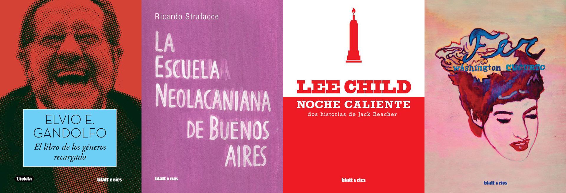 Elvio Gandolfo, Ricardo Strafacce, Jack Rreacher y Washington Cucurto en el catálogo de Blatt & Ríos