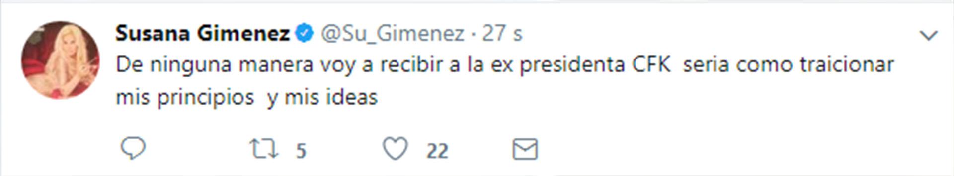 El mensaje que publicó Susana en Twitter