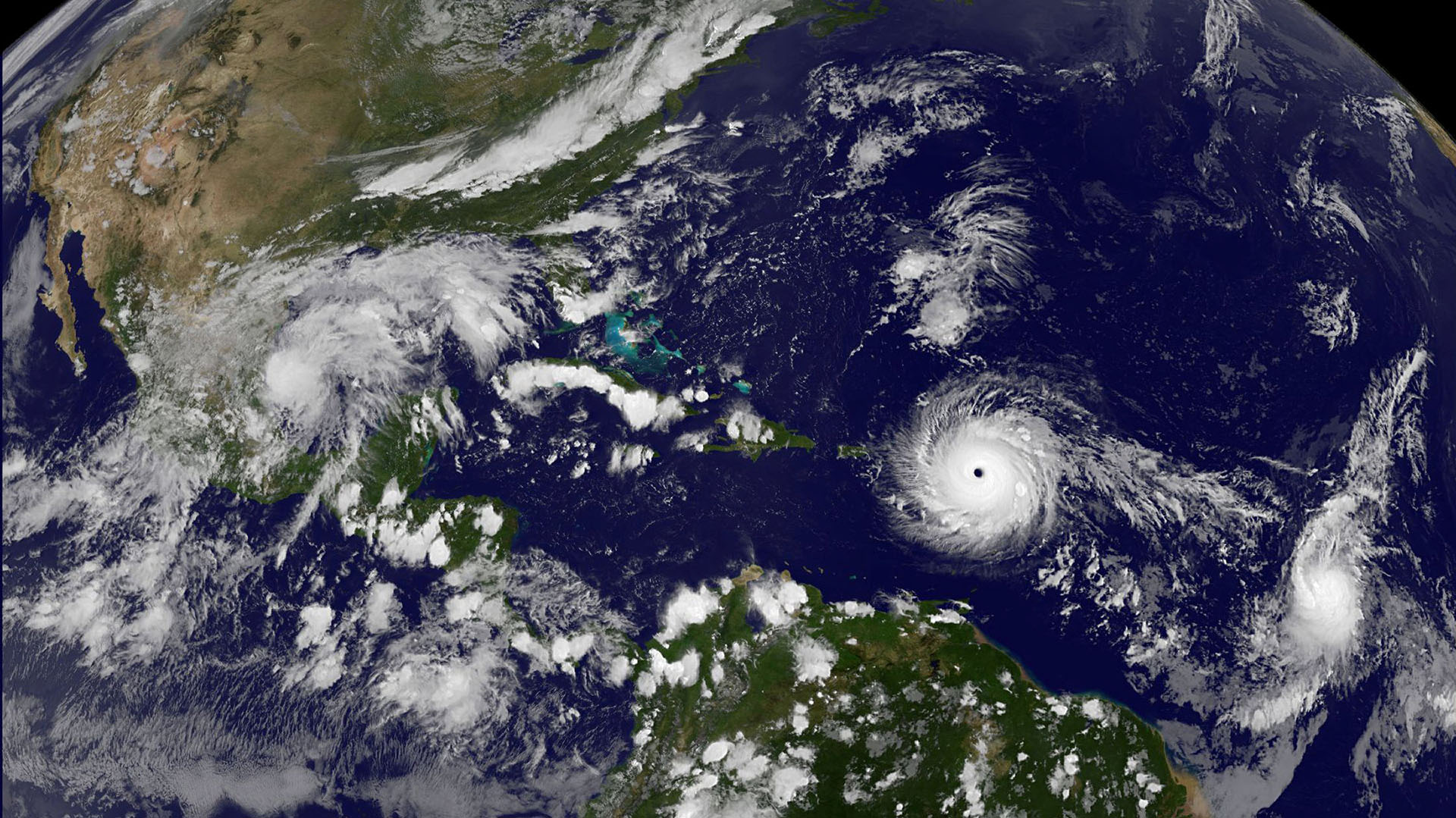 Imagen satelital del huracán Irma, captada por la NASA