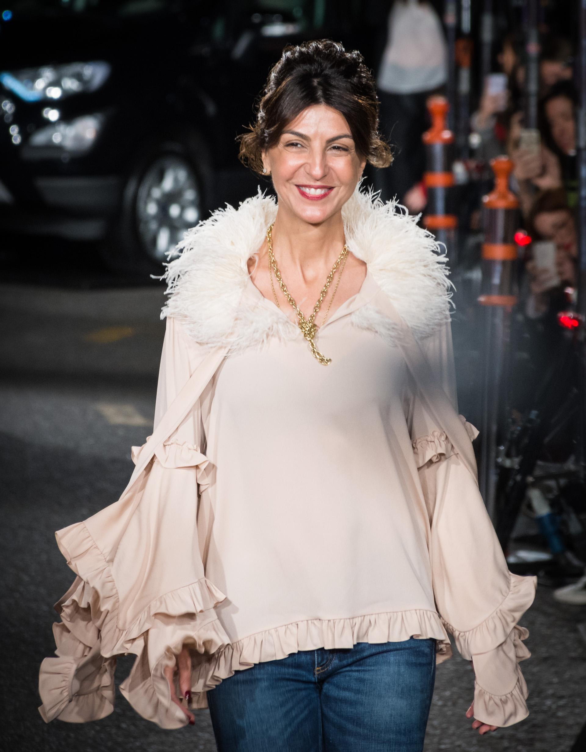 Evangelina Bomparola durante la presentación de su nueva colección que se llevó a cabo con un gran desfile en la puerta de su local de Avenida Alvear