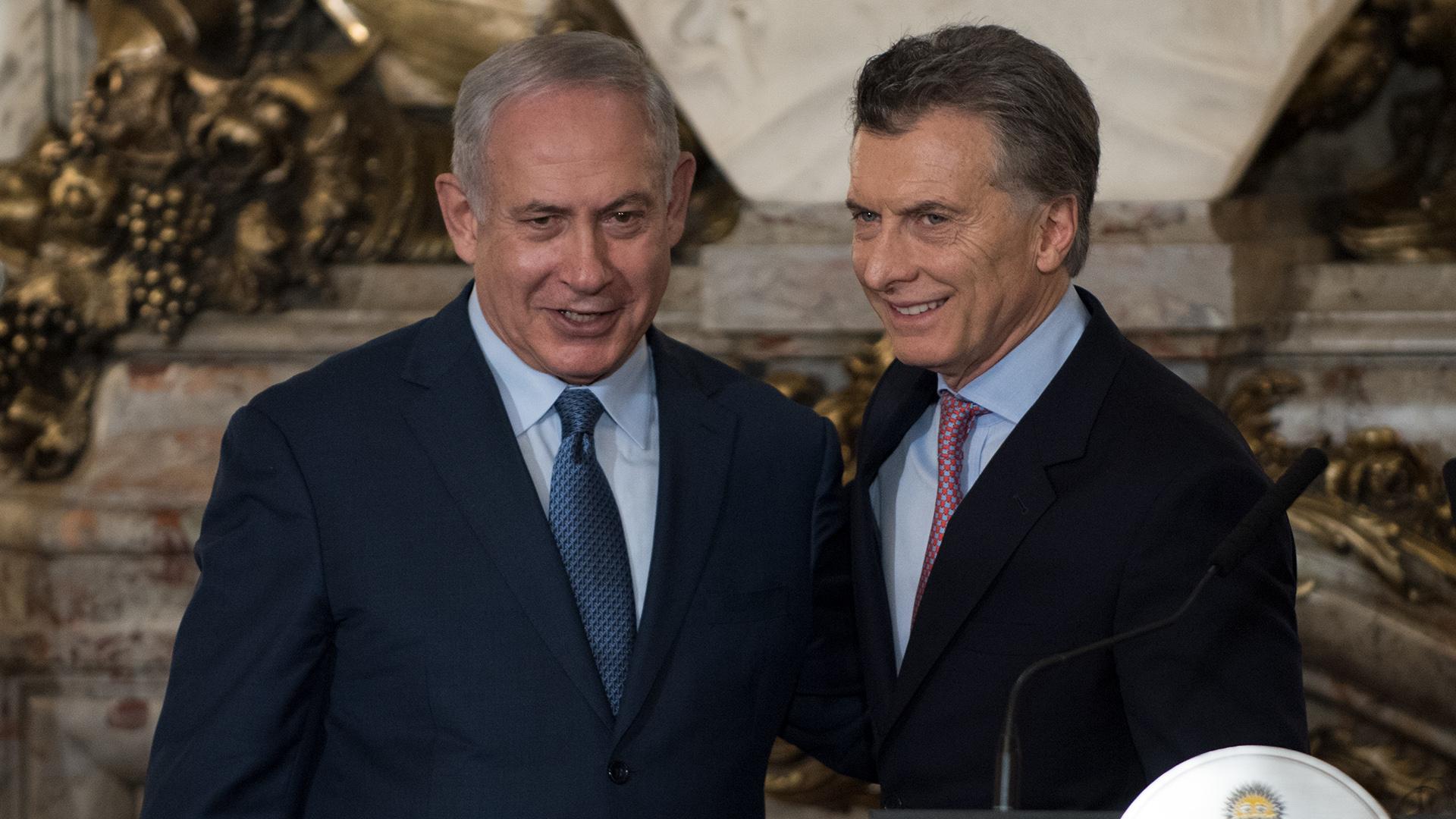 Mauricio Macri junto a Benjamin Netanyahu, durante su visita a la Argentina del septiembre pasado (Adrián Escandar)