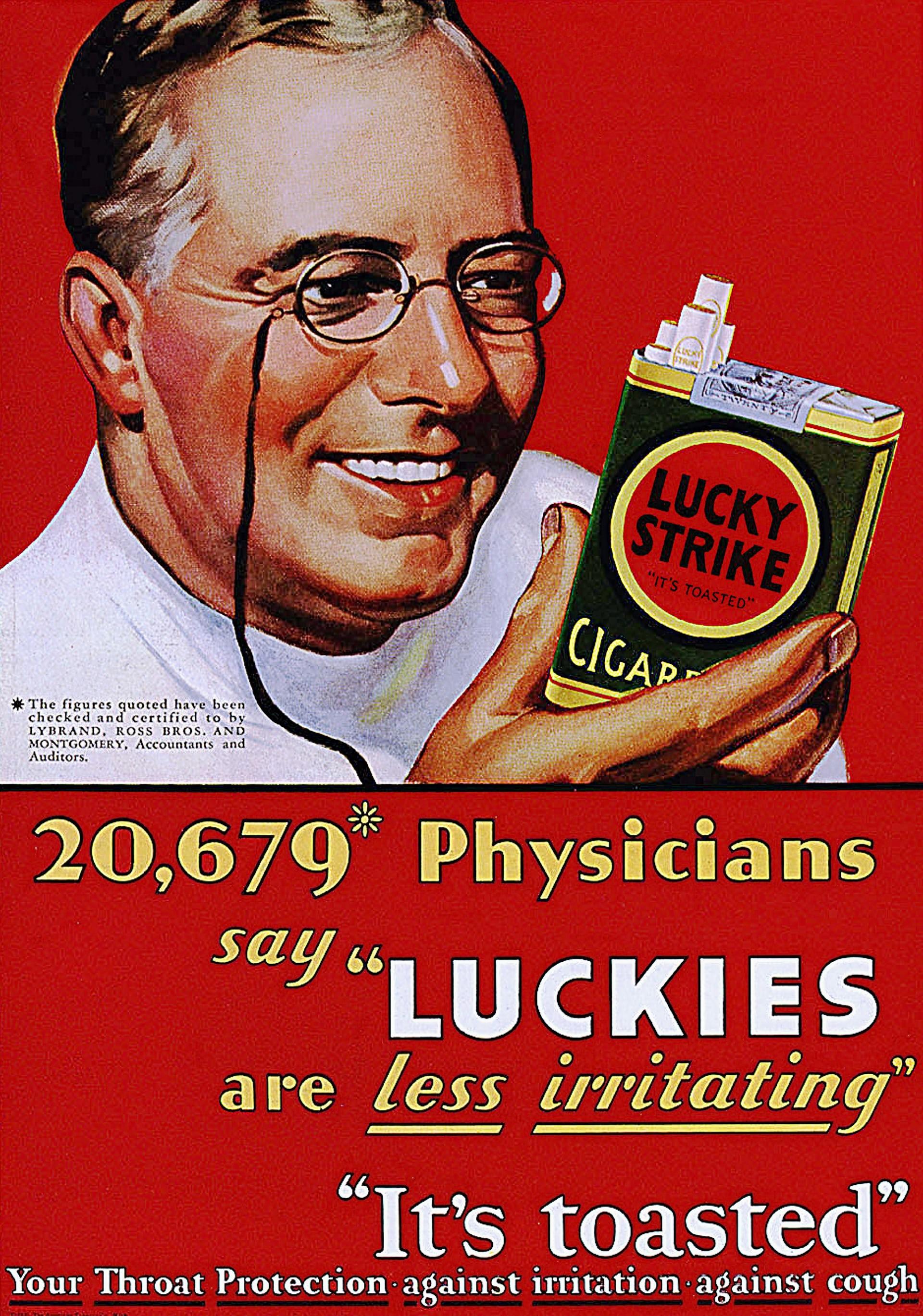 """""""20.679 médicos dicen que los Luckies son menos irritantes. Están tostados. Tu protección de la garganta contra la irritación y contra la tos"""""""