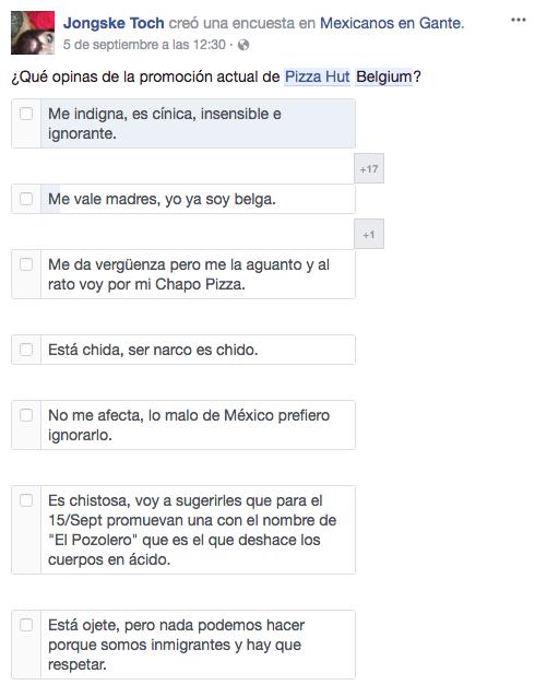 Encuesta en Facebook a través de la página Mexicanos en Gante