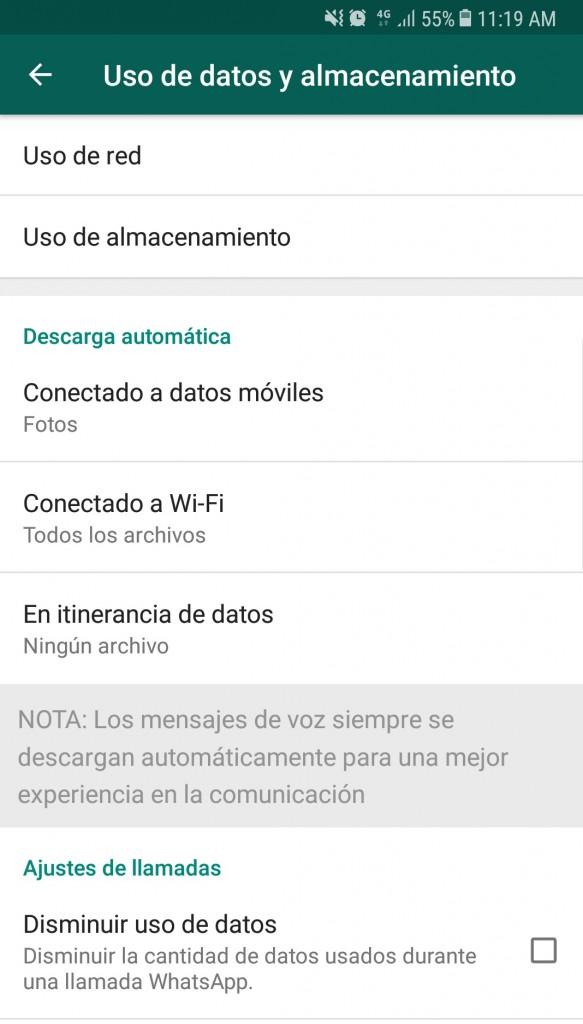 Whatsapp uso de almacenamiento