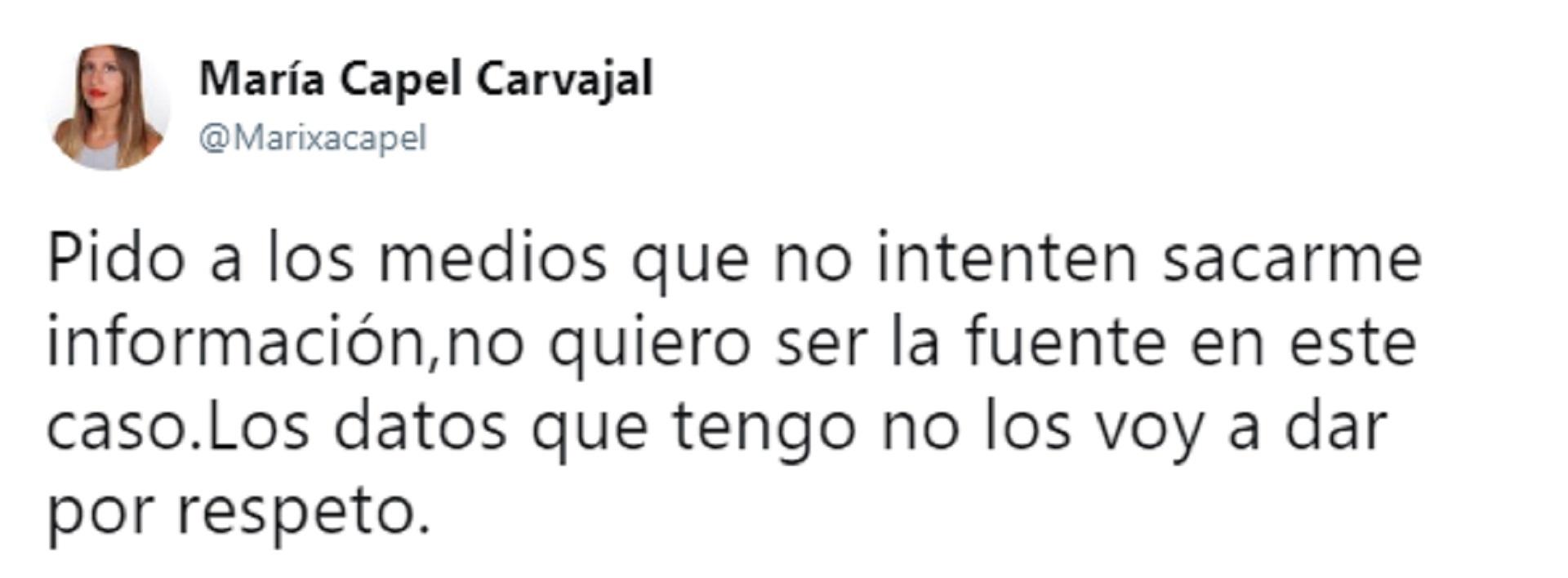 Tuit de María Capel Carvajal, amiga de Celia Fuentes