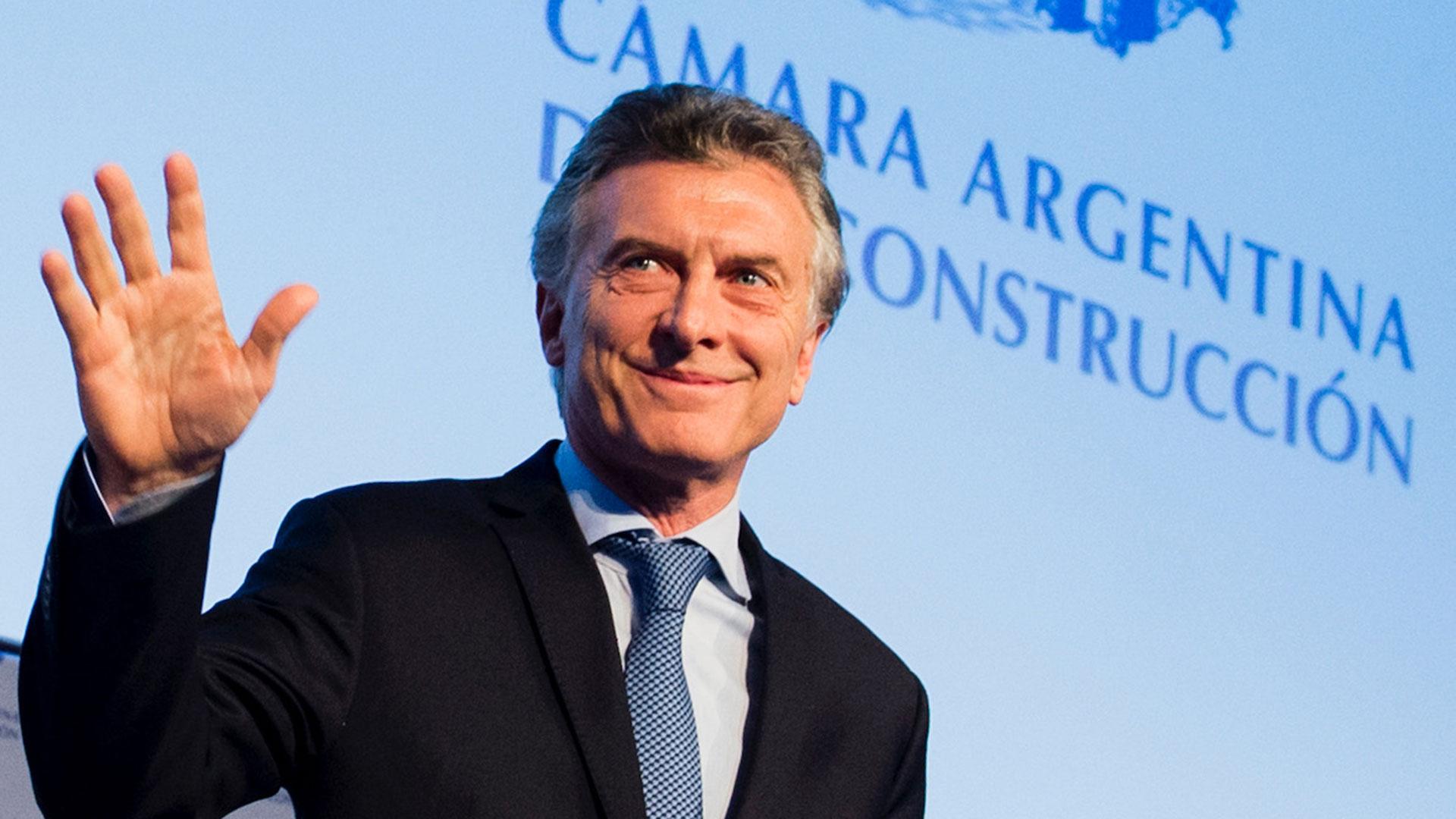 Macri, en el cierre de la convención anual de la Cámara Argentina de la Construcción, en 2017 (Presidencia)