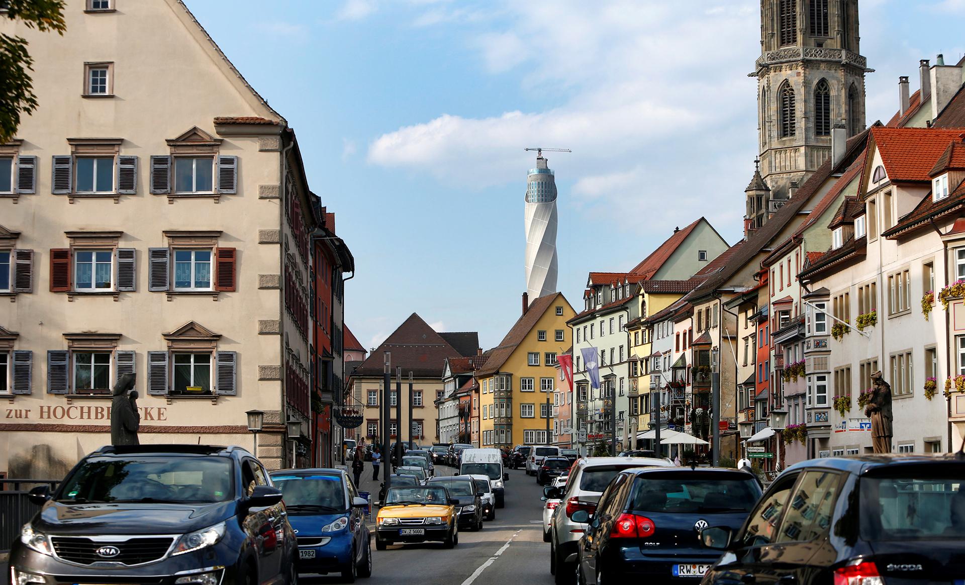 La vista de la torre desde el pueblo de Rottweil, al suroeste de Alemania, donde viven 24.378 personas según el último censo.