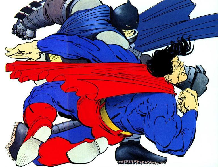 Dark Knight Returns: giro en la historia del cómic, Batman golpea a Superman.
