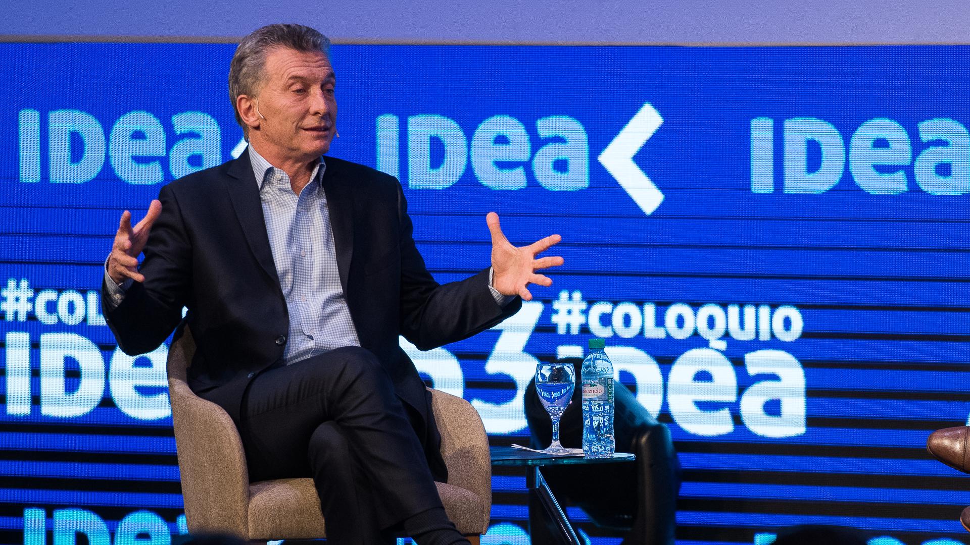 El presidente de la Nación Mauricio Macri en el cierre del 53 Coloquio de Idea en Mar del Plata