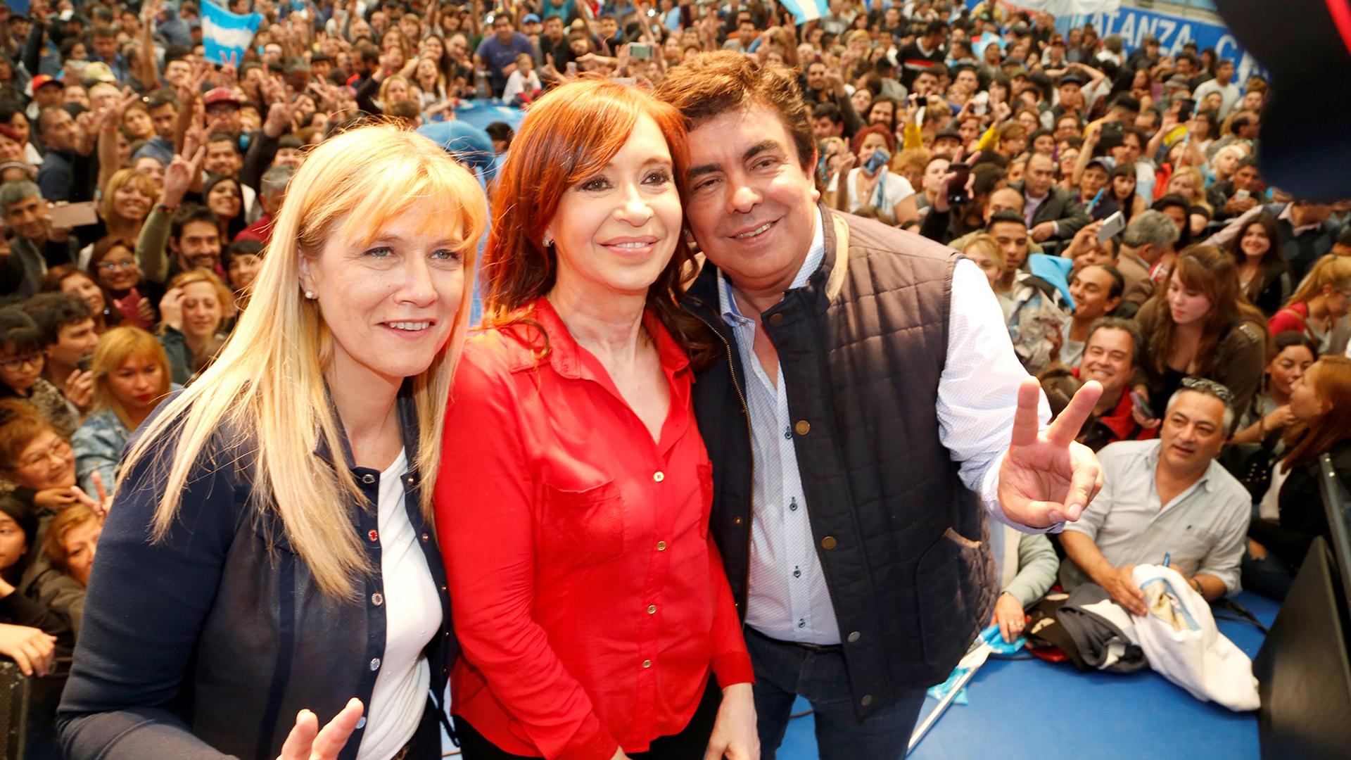 Cristina Kirchner junto a Magario y Espinoza en La Matanza, el distrito de mejor performance electoral de Unidad Ciudadana