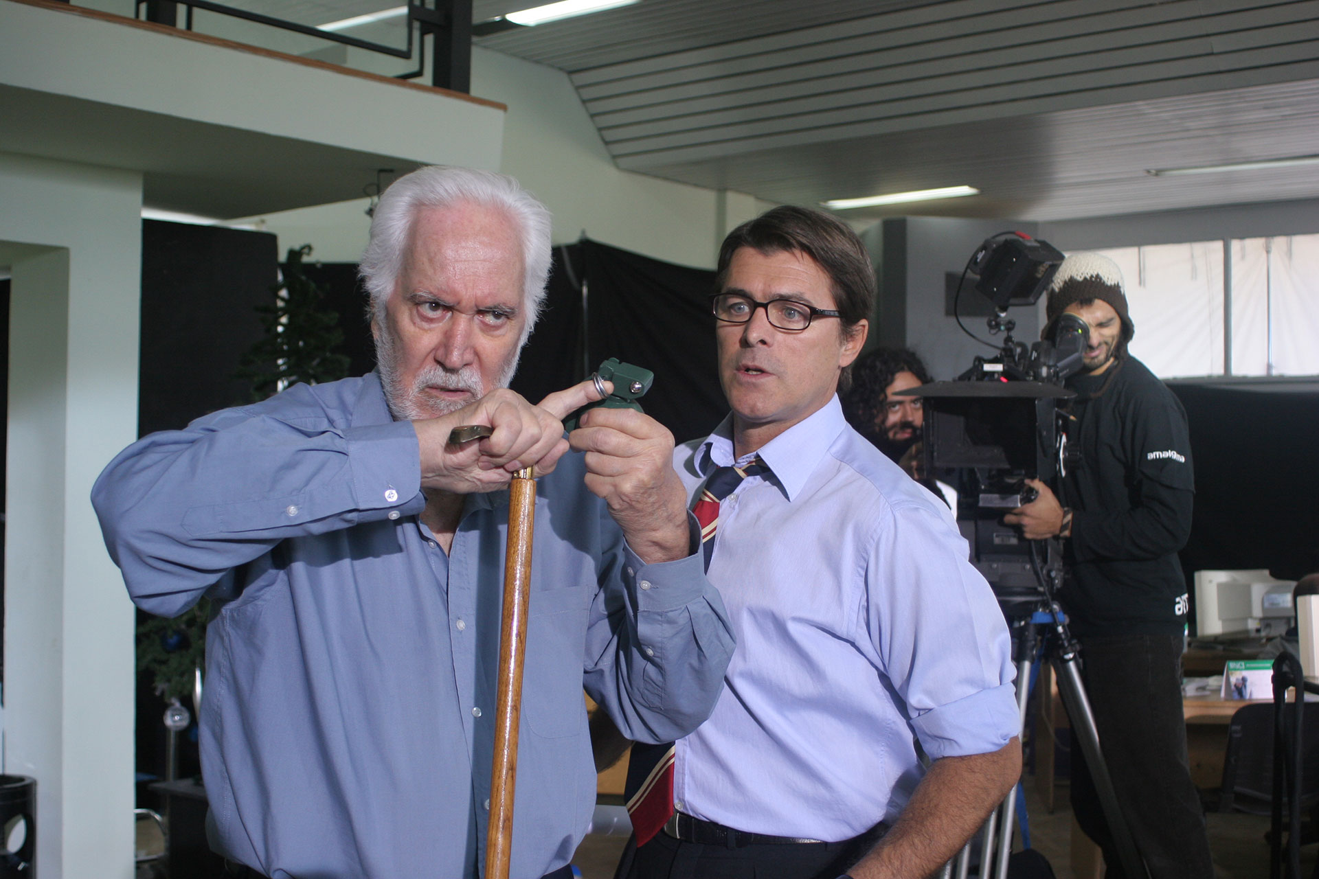 Junto a Gabriel Corrado en el rodaje de Acorralados.