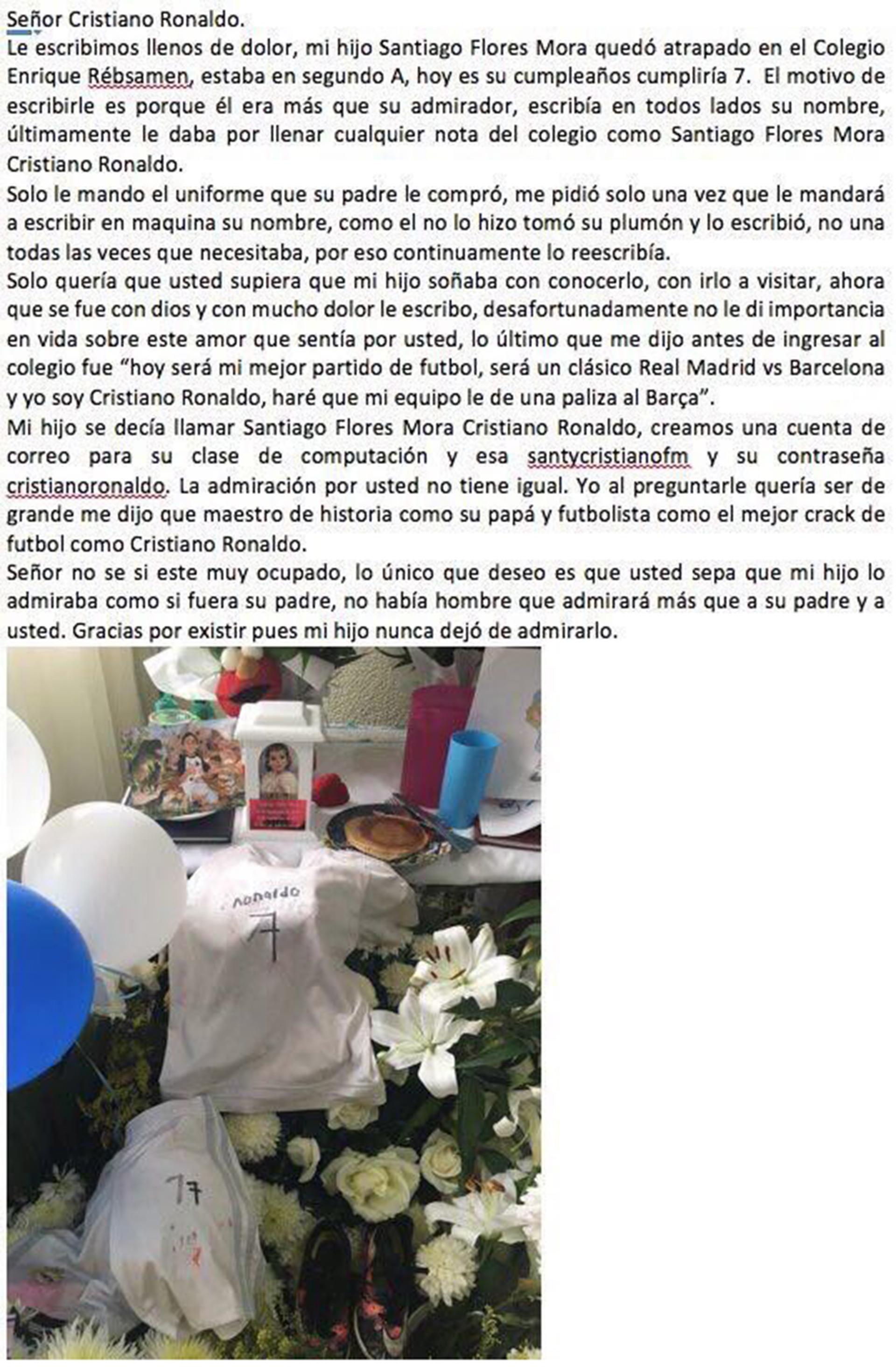 La carta que la madre de Santiago le envió a Cristiano Ronaldo