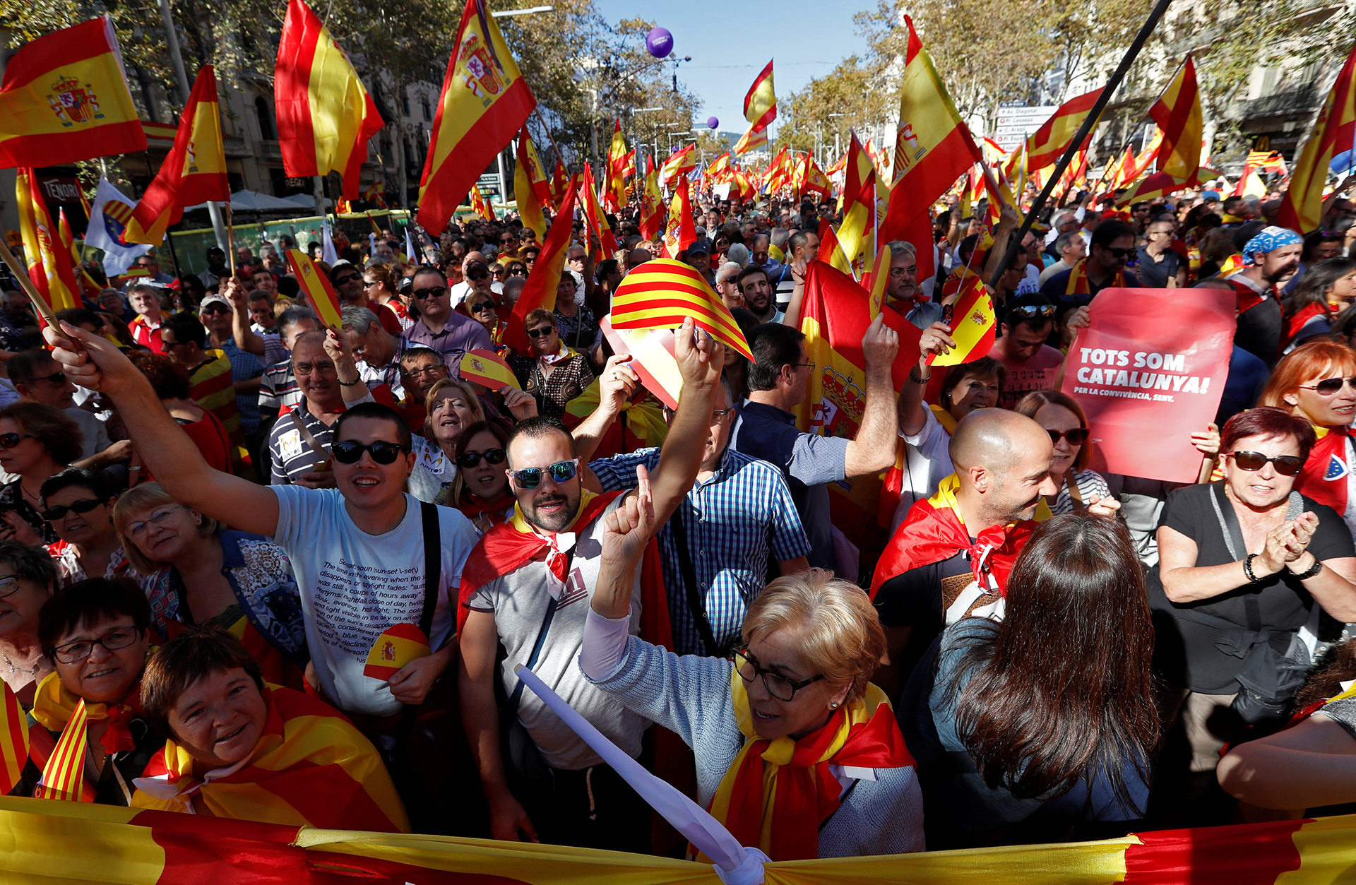 """""""Es un momento dramática en la historia de España, un momento tremendamente difícil y peligroso"""", advirtió el expresidente del Parlamento europeo, el catalán Josep Borrell, pidiendo a los manifestantes """"serenidad"""" para """"seguir viviendo juntos"""""""