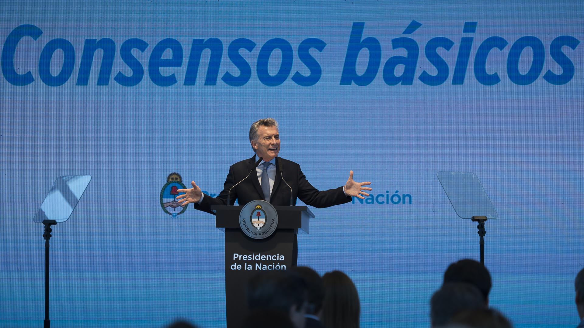 El presidente Macri expuso ante empresarios, sindicalistas y funcionarios (Adrián Escandar)