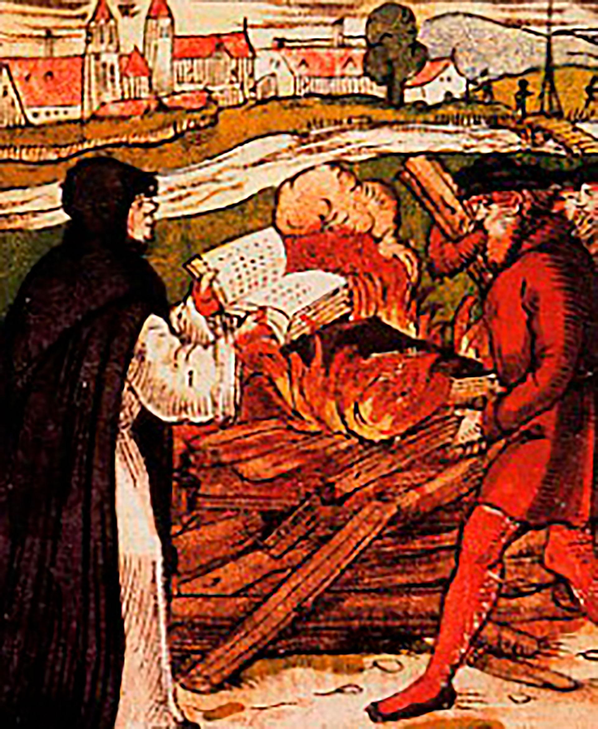 Lutero quema la bula por la cual el Papa lo conmina a retractarse bajo pena de excomunión