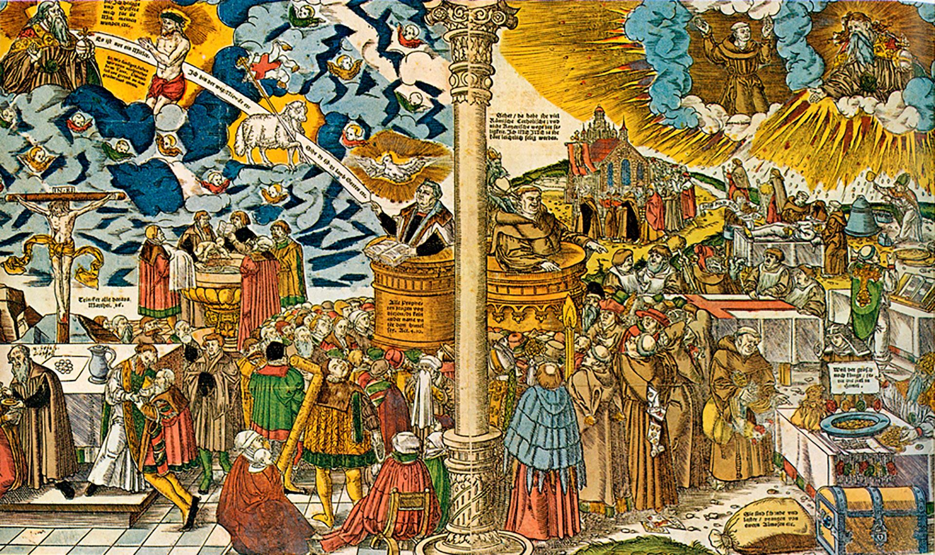La verdadera religión de Cristo y la falsa doctrina del Anticristo. Cuadro de Lucas Cranach el Joven, año 1545