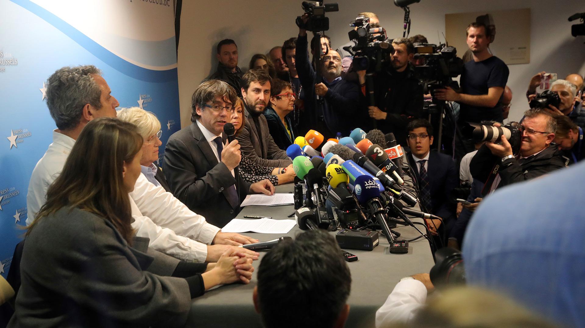 Puigdemont ofreció el martes una conferencia de prensa (AP)