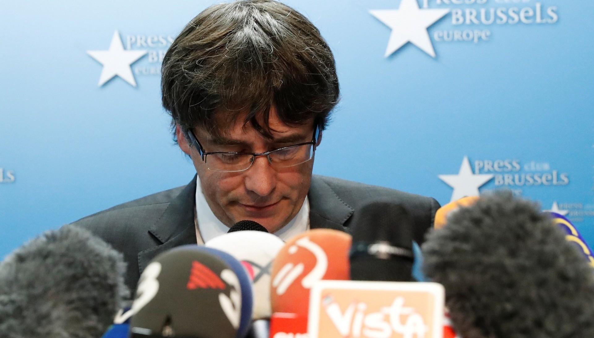 Carles Puigdemont durante una conferencia de prensa en Bruselas (Reuters)
