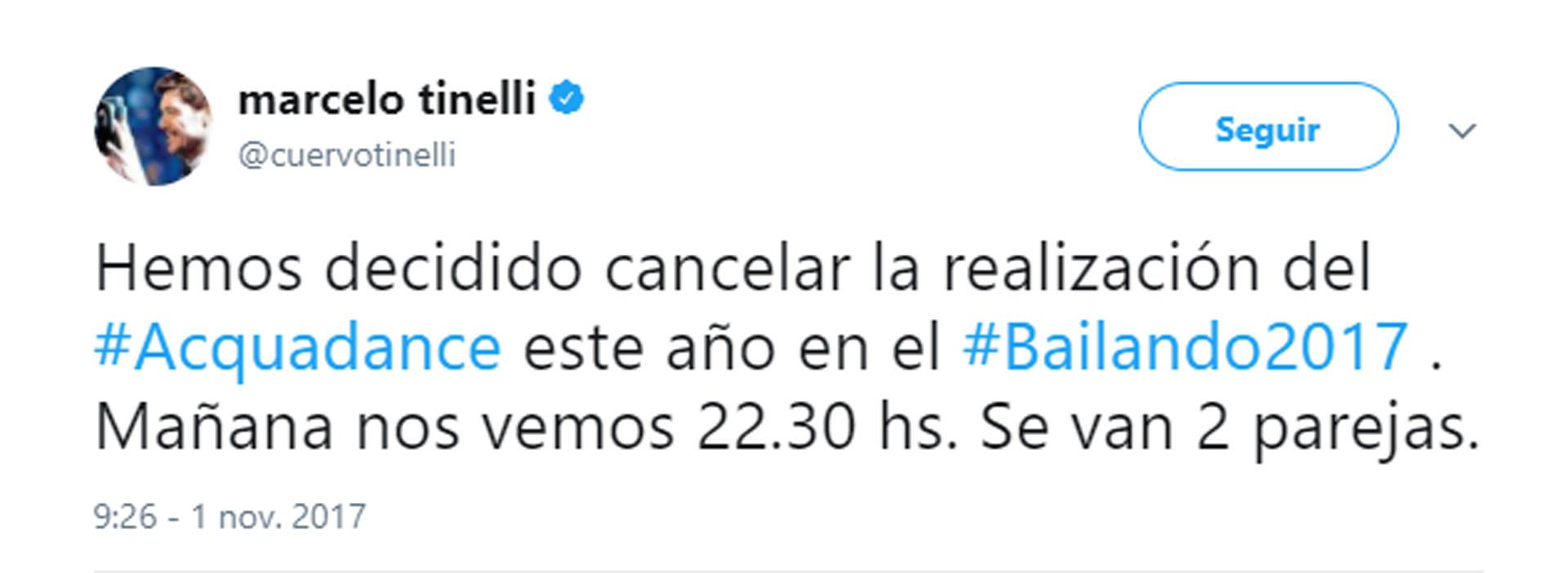 El mensaje de Tinelli en Twitter