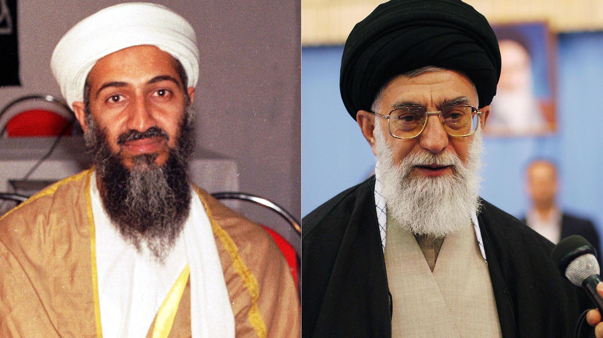 Osama Bin Laden, fallecido líder de Al Qaeda, y el líder supremo de Irán, ayatola Ali Khamenei