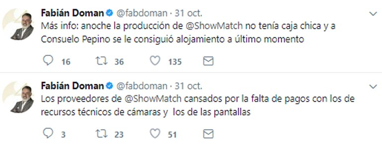 Tuits de Fabián Doman sobre los conflictos económicos de ShowMatch
