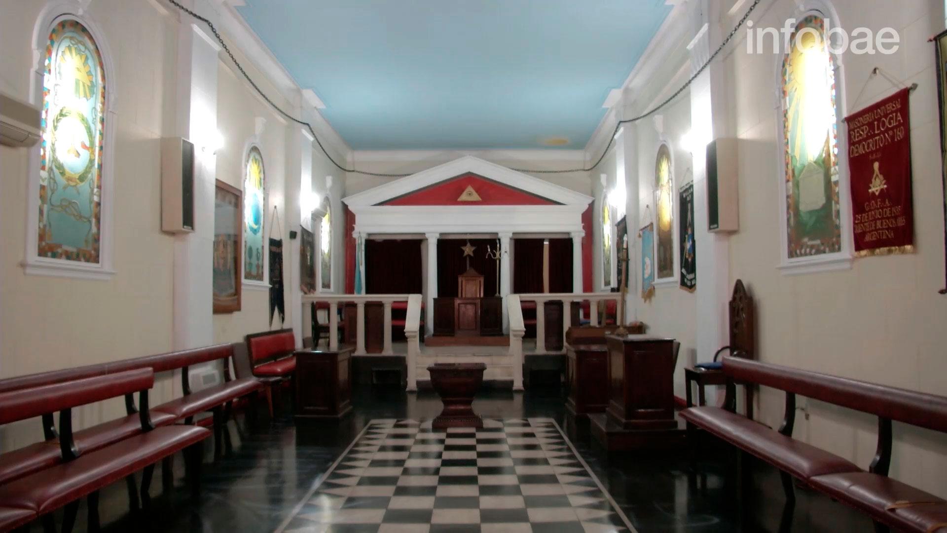 El interior de la sede a central de la masonería en nuestro país, situada en ese palacio desde 1872