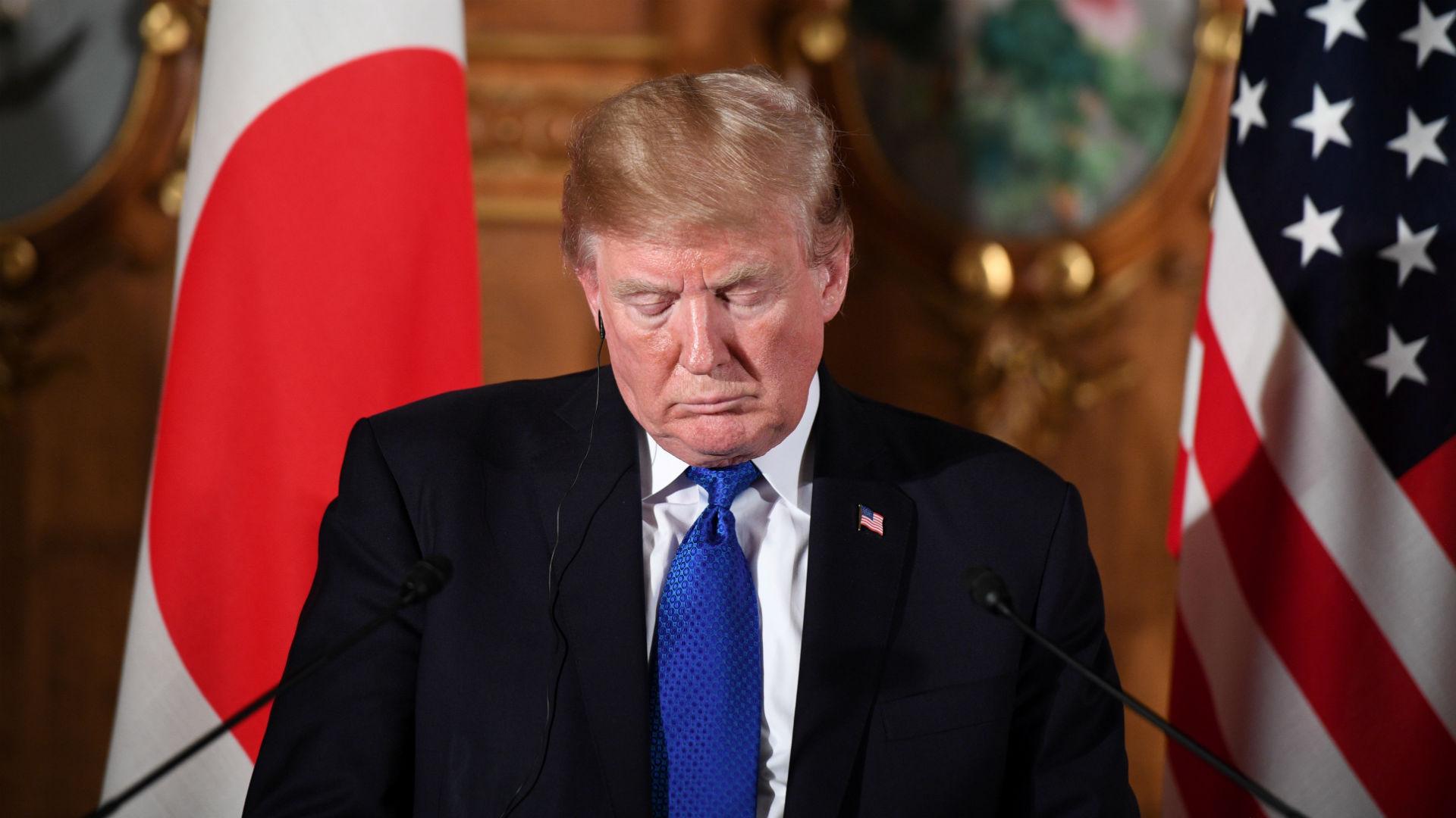 El presidente estadounidense Donald Trump durante la conferencia de prensa con el primer ministro japonés, Shinzo Abe (AFP)
