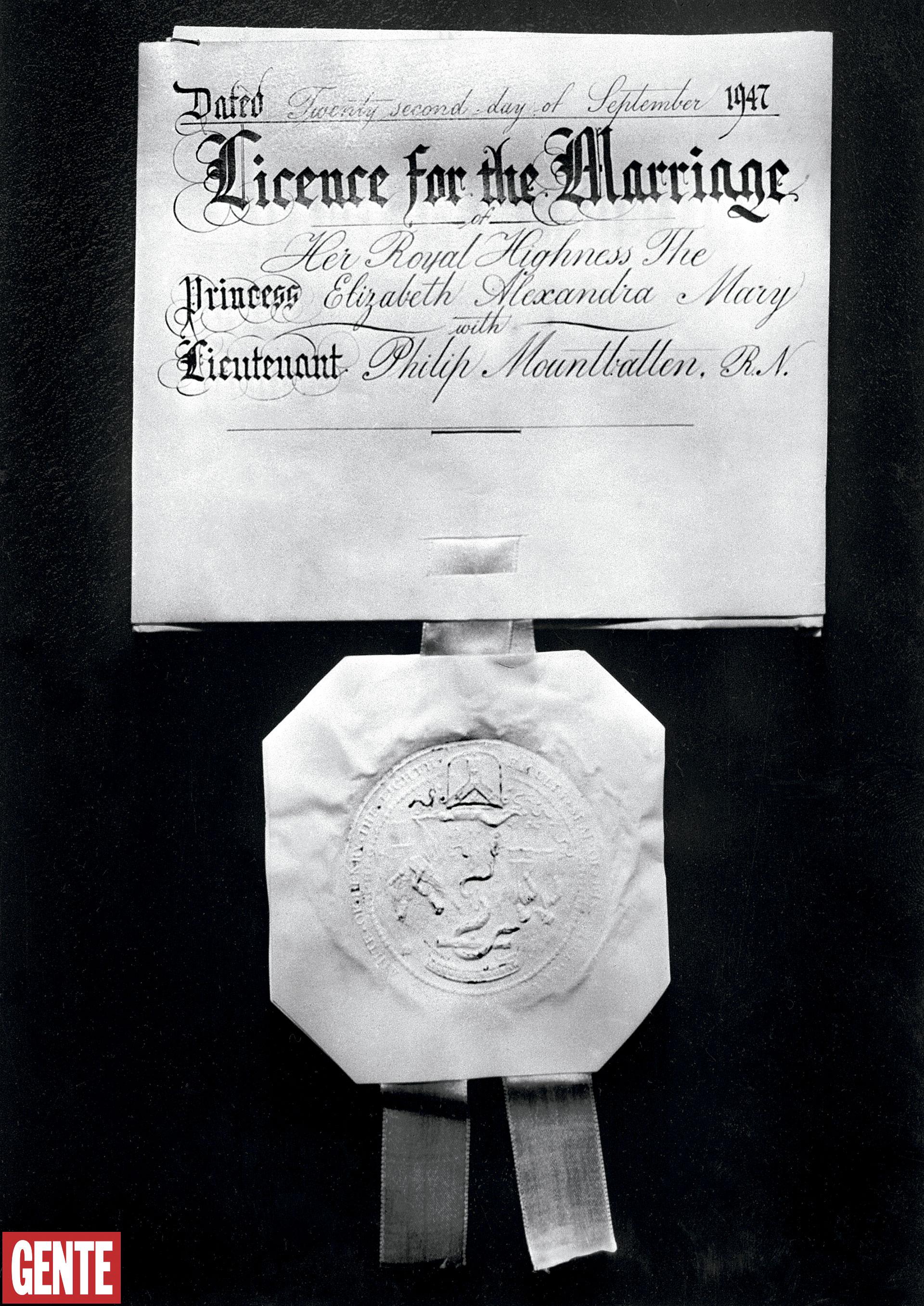 La licencia por casamiento, con sello y moño de satén, firmada por el arzobispo de Canterbury. Foto AFP