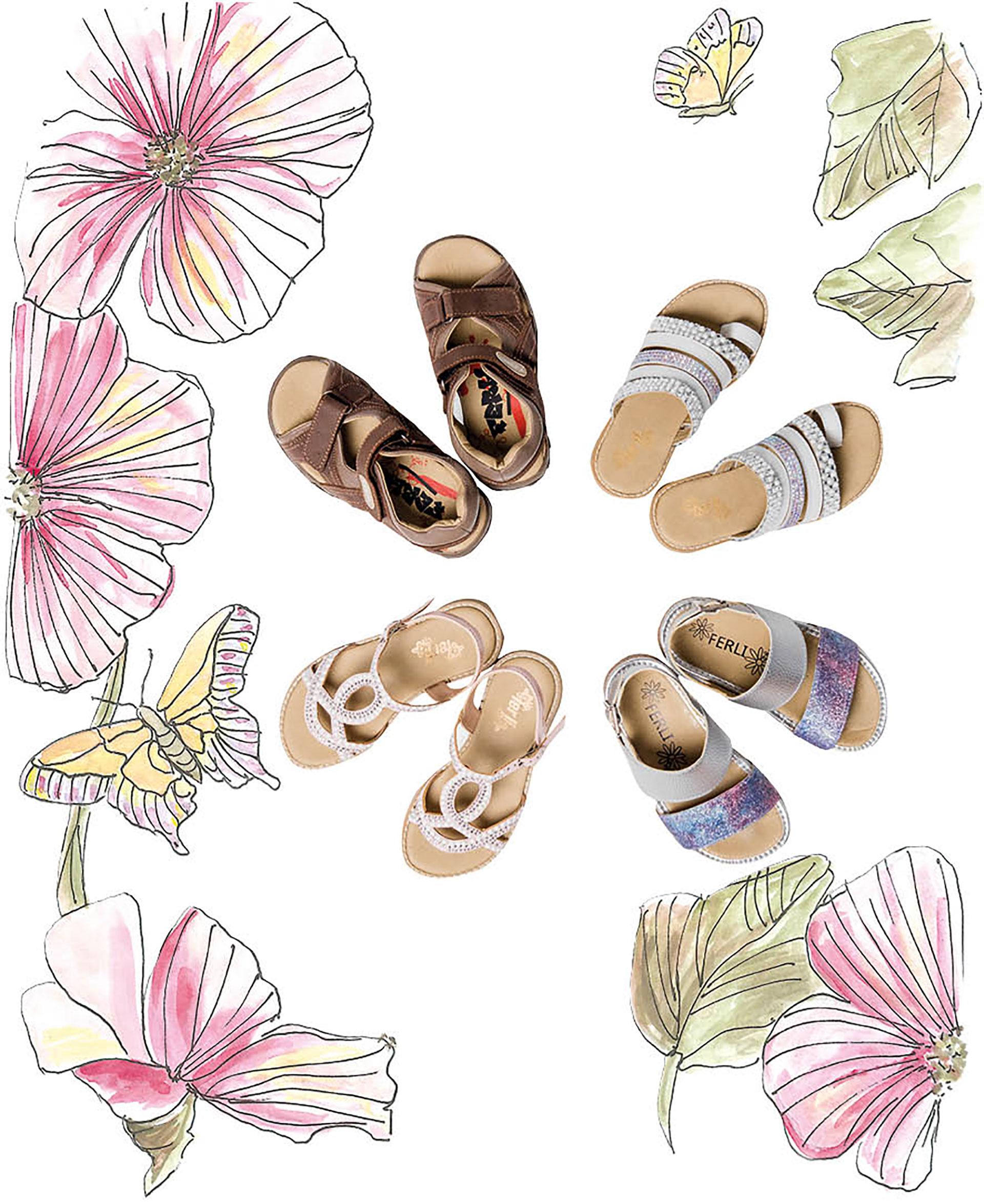 Sandalias con perlas ($ 1.360), sandalias con tira doble($ 1.020), sandalias conbrillos ($ 1.380) y sandaliasde cuero con velcro ($ 1.560). De Ferli.