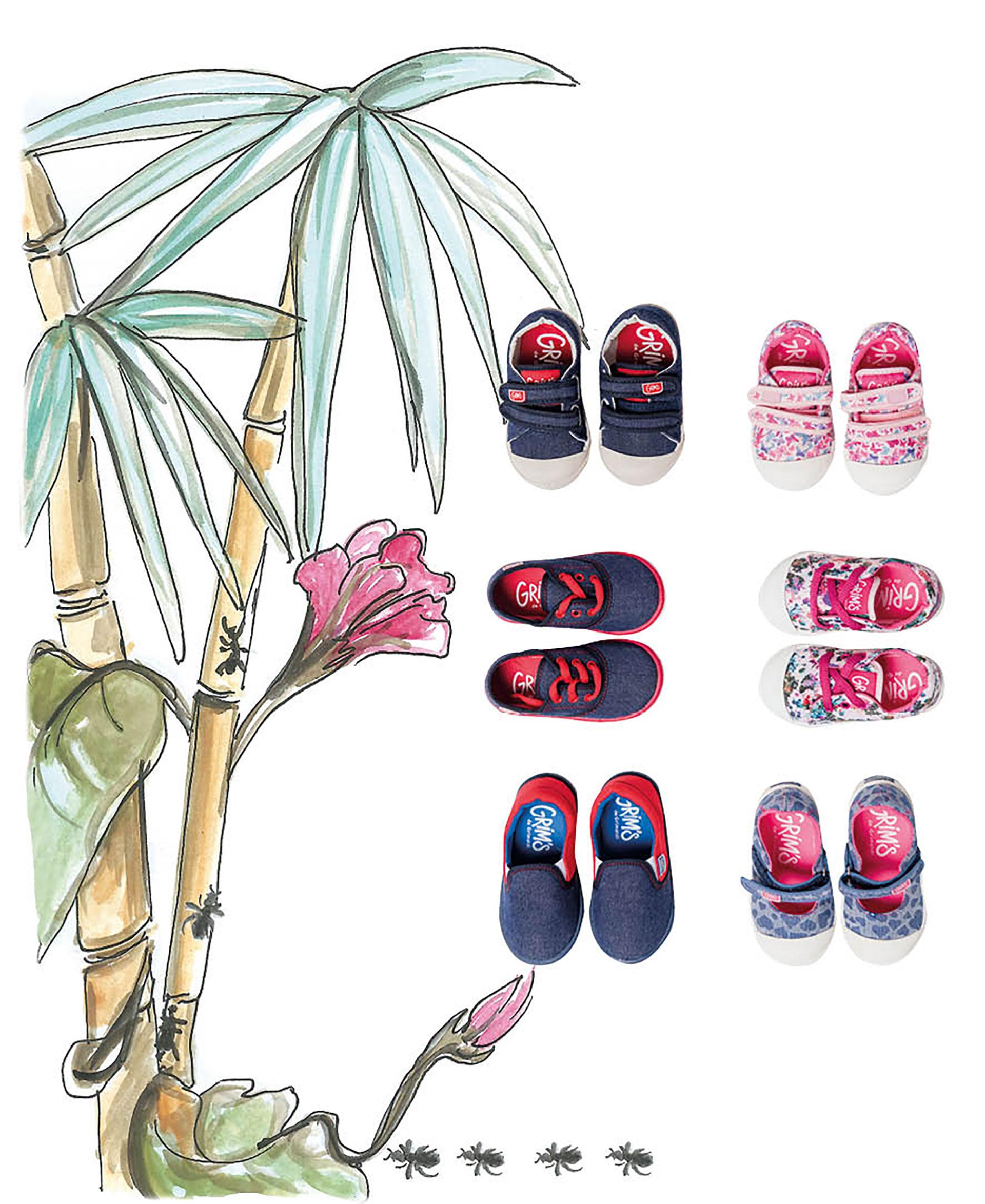 Grim'sVarón: zapatillas de lona de jean con velcro ($ 699), zapatillas de lona de jeancon cordones ($ 660) y panchas de jean ($ 660).Mujer: zapatillas de lona con velcro doble ($ 699), zapatillas de lona acordonada con flores ($ 660) y panchas de lonacon corazones ($ 660). De Grim´s. Foto Maia Croizet/Para Ti. Ilustración Victoria Morete