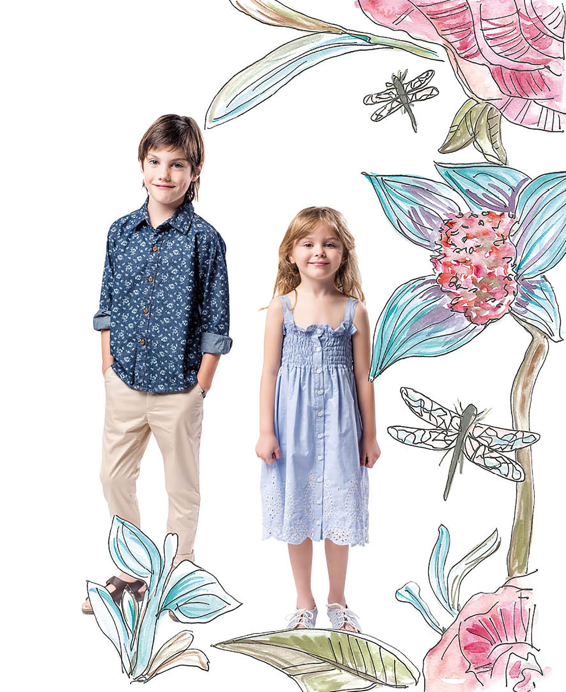 Simón: camisa con flores liberty ($ 1.098), pantalón de gabardina ($ 1.198) y sandalias ($ 1.348). Paz: solero con detalles en broderie ($ 1.598)y sandalias rayadas ($ 1.098). El look de Pioppa. Foto Maia Croizet/Para Ti. Ilustración Victoria Morete