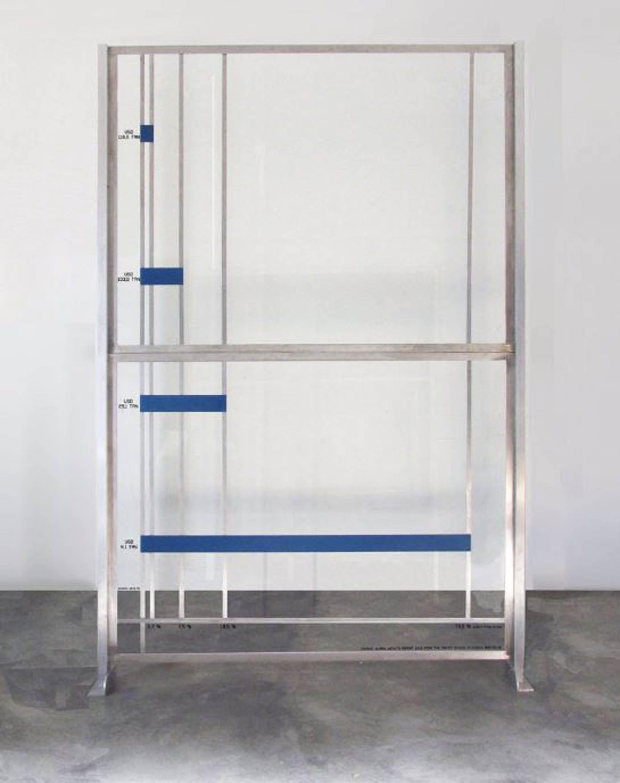 Alicia Herrero: Mise a ni, 2017. Acero, aluminio y vidrio. 227,5 x 178 x 8 cm